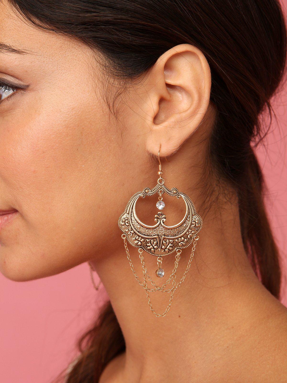 Gold Fan With Chain Earrings