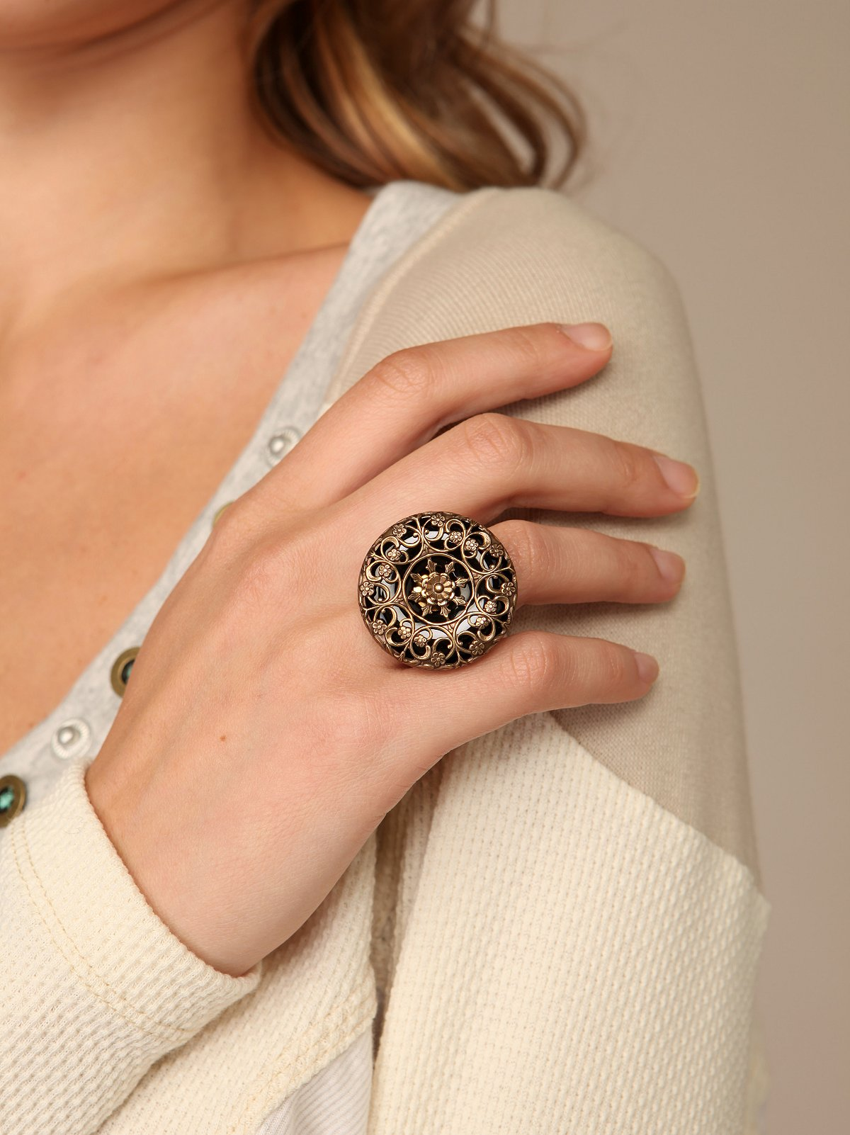 Large Round Cage Ring