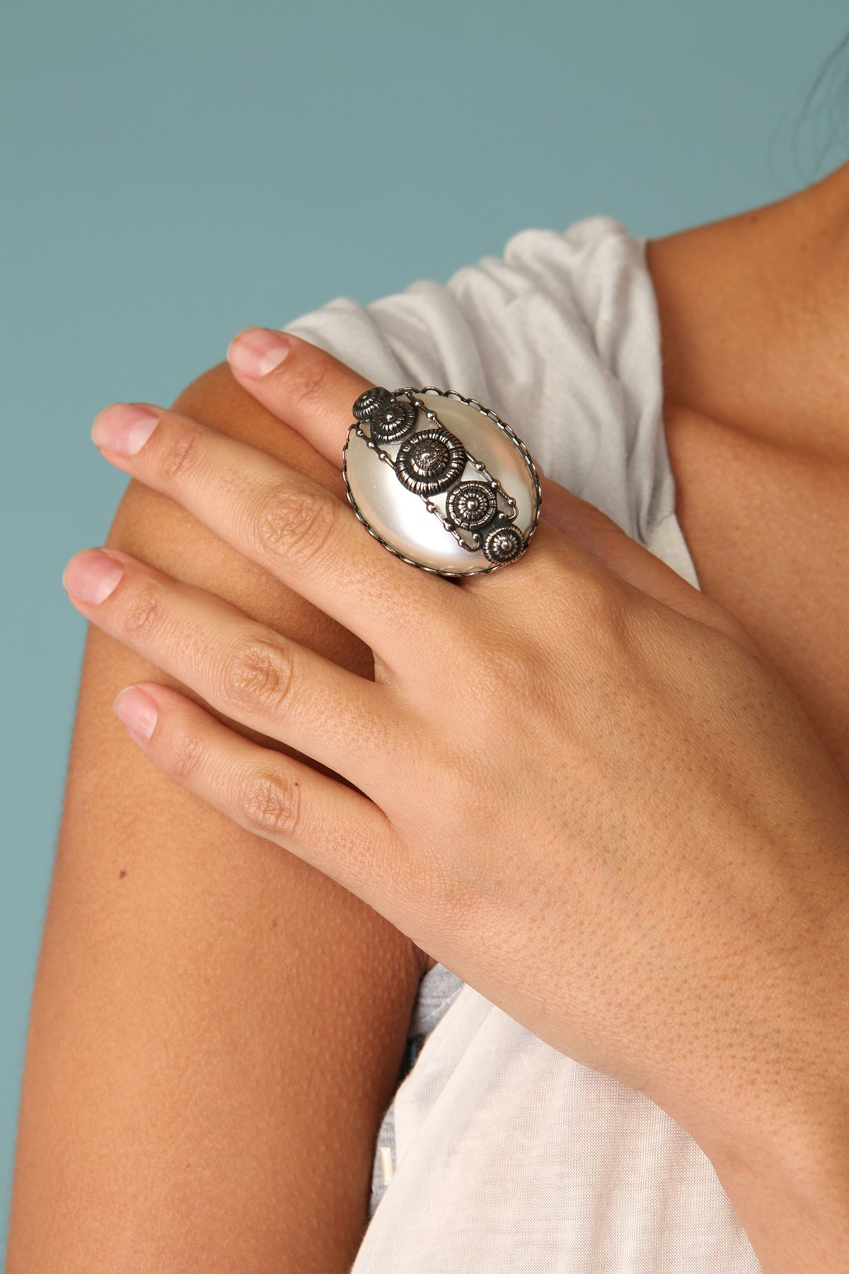 Large Pearl Overlay Ring