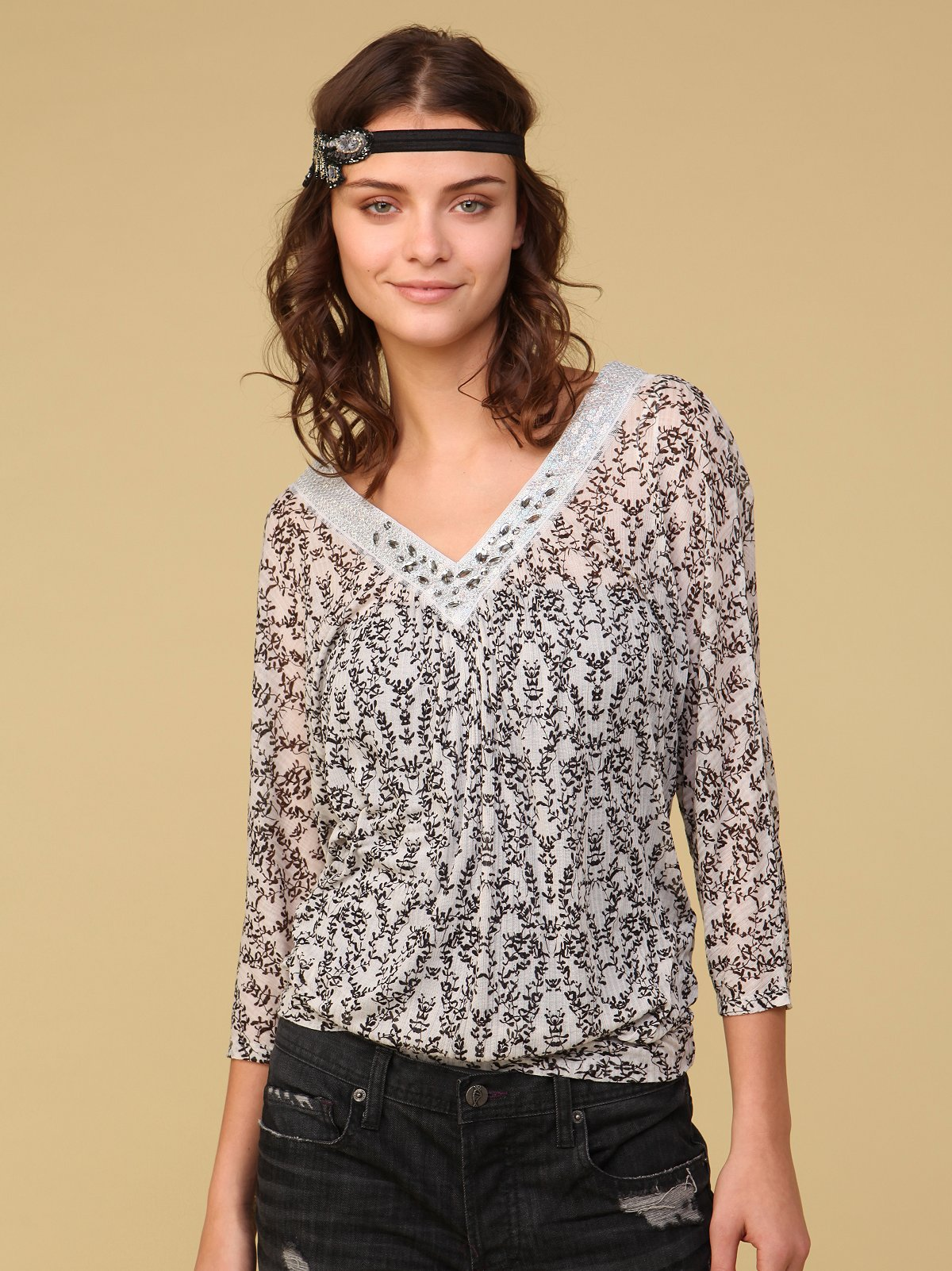 Printed Dolman Double V Top