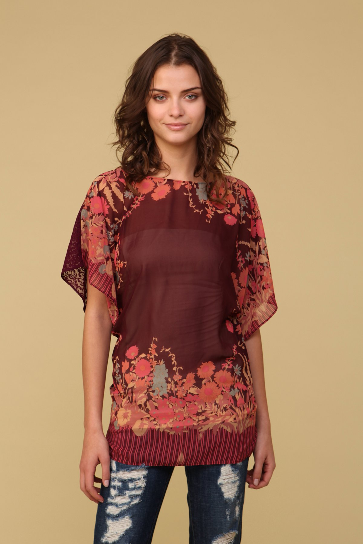 Lacey Floral Dolman Tunic