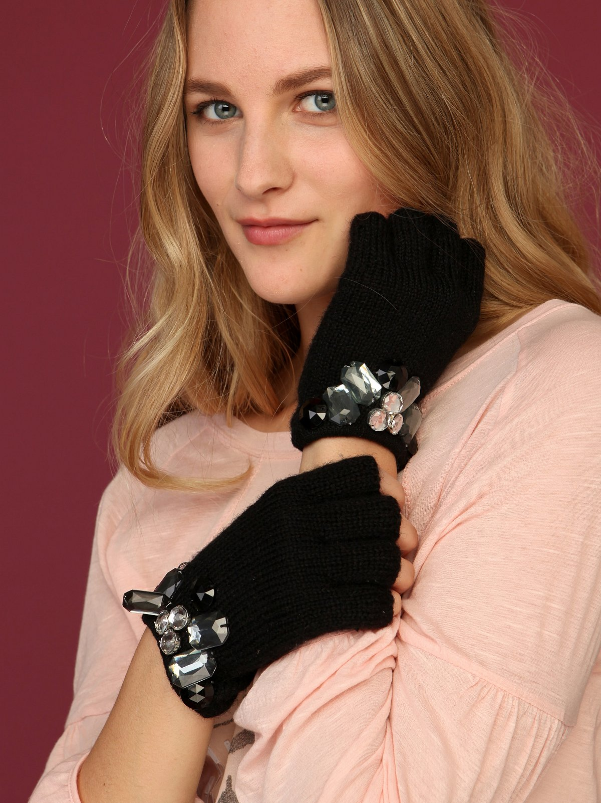 Jeweled Pointelle Glove