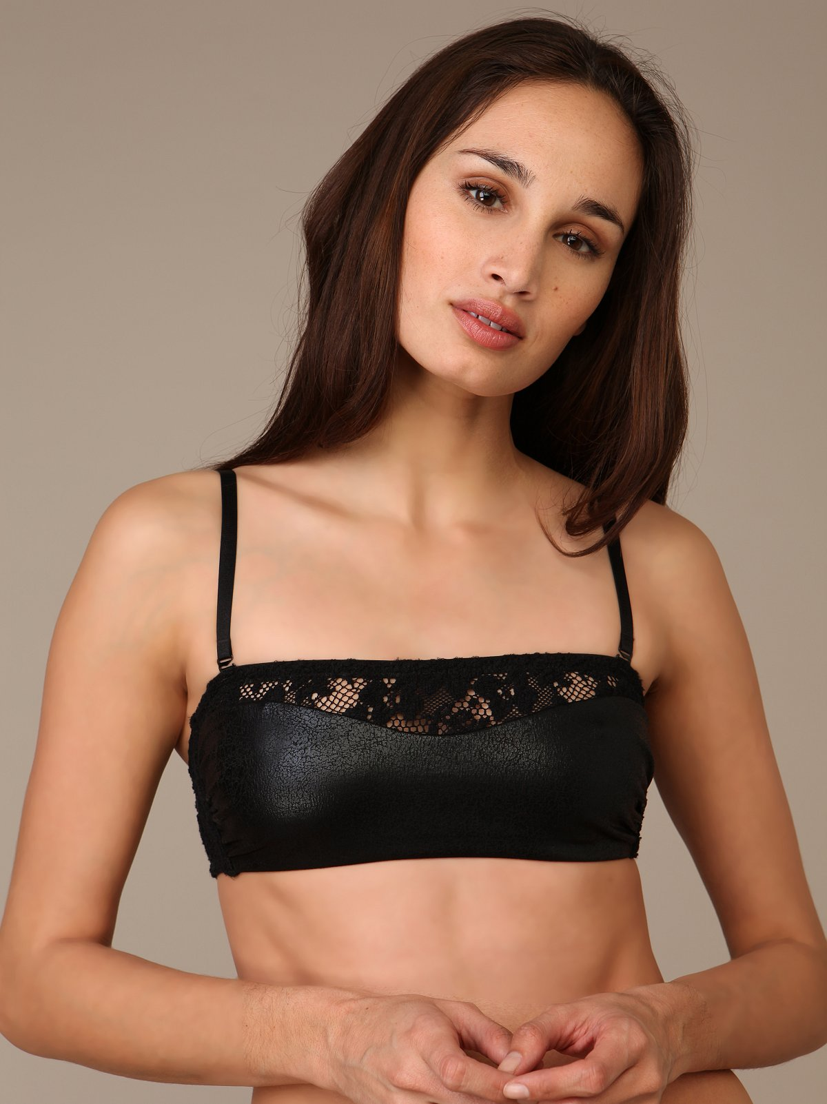 Faux Leather Convertible Bandeau