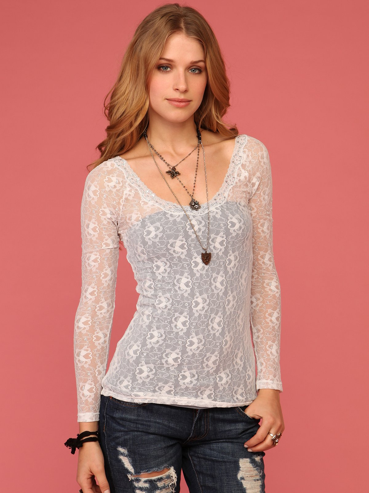 Lurex And Lace Layering Top
