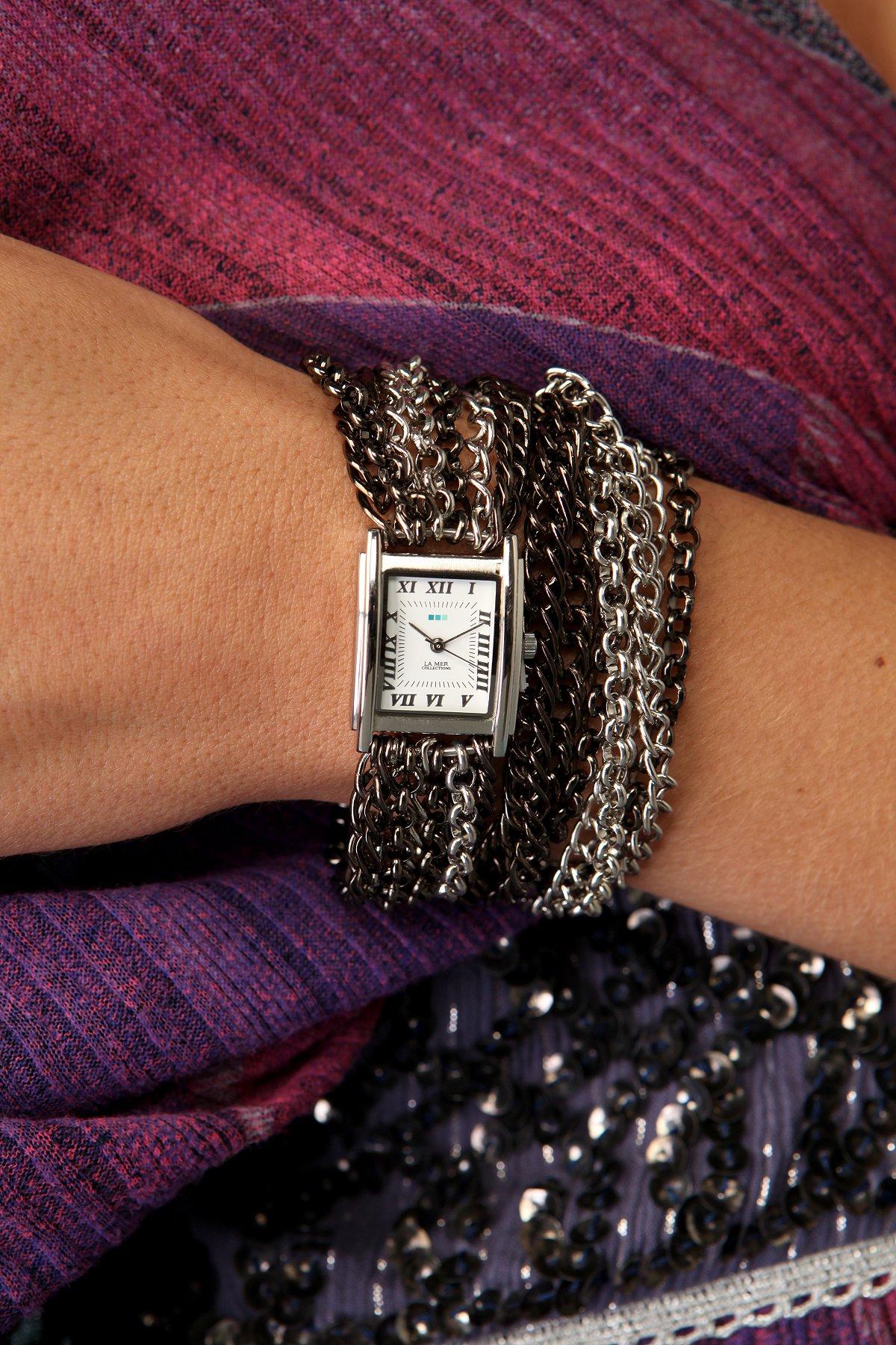Gunmetal Chain Wrap Watch