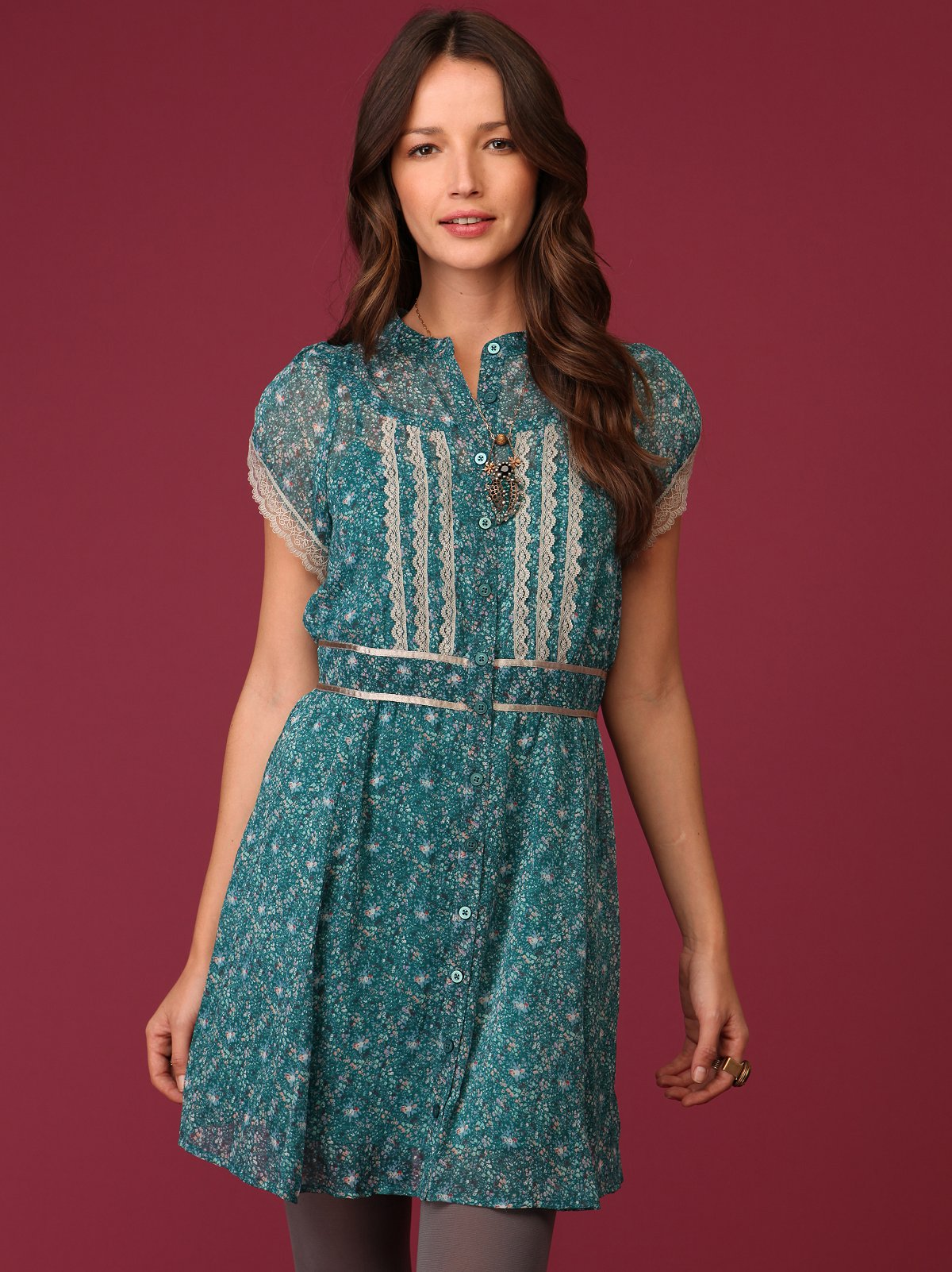 Teal Ditsy Floral Dress