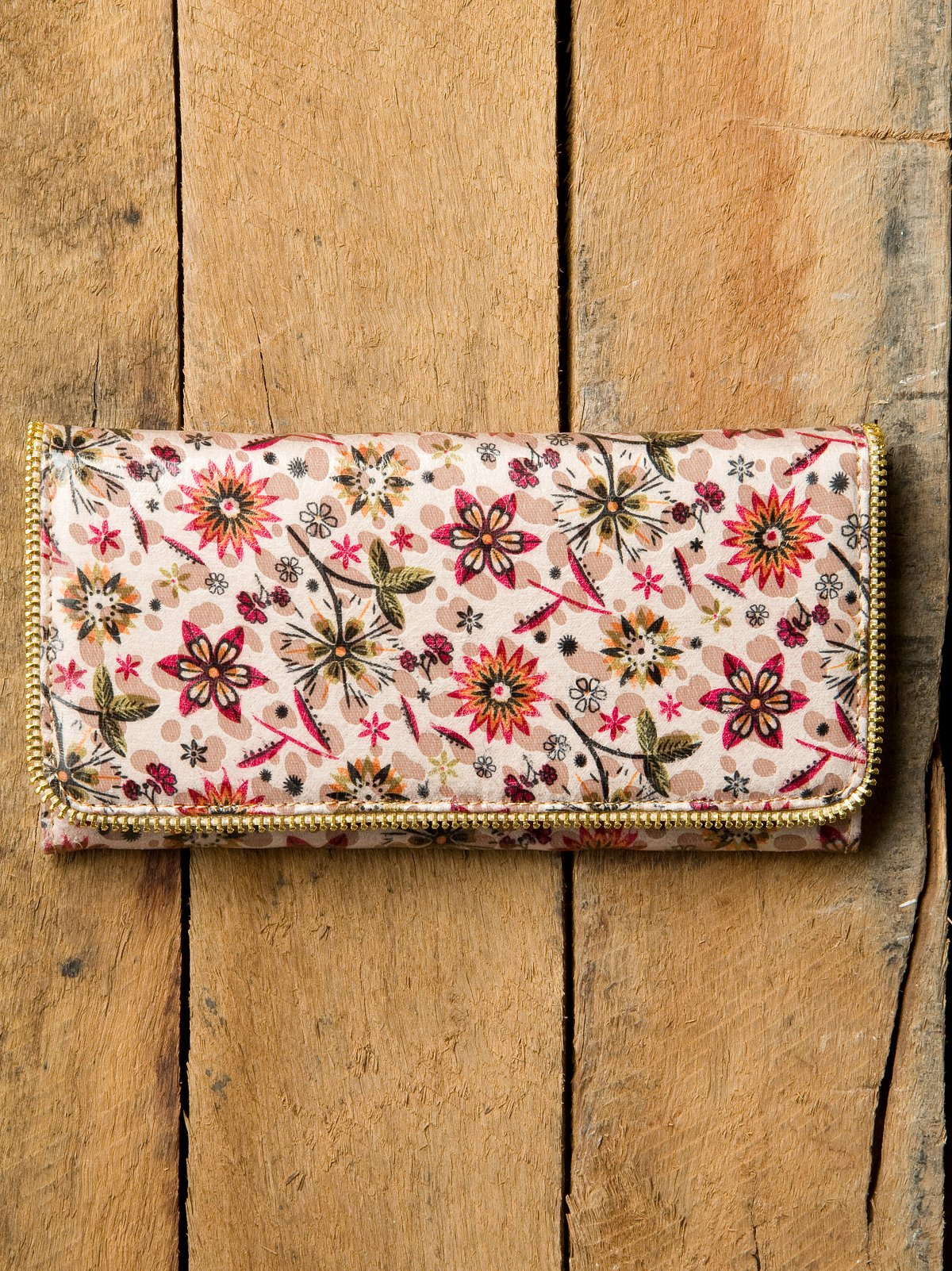 Flower Zipper Trifold Wallet