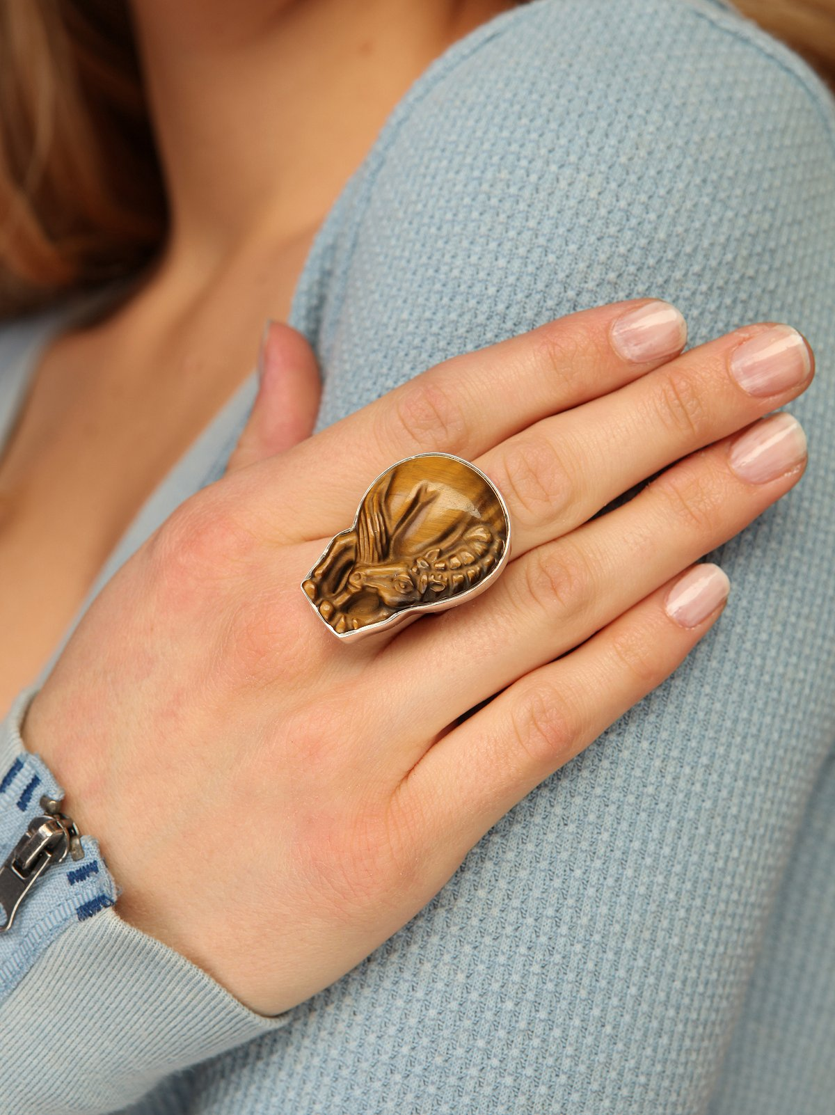One Of A Kind Hand Carved Bashful Horse Ring