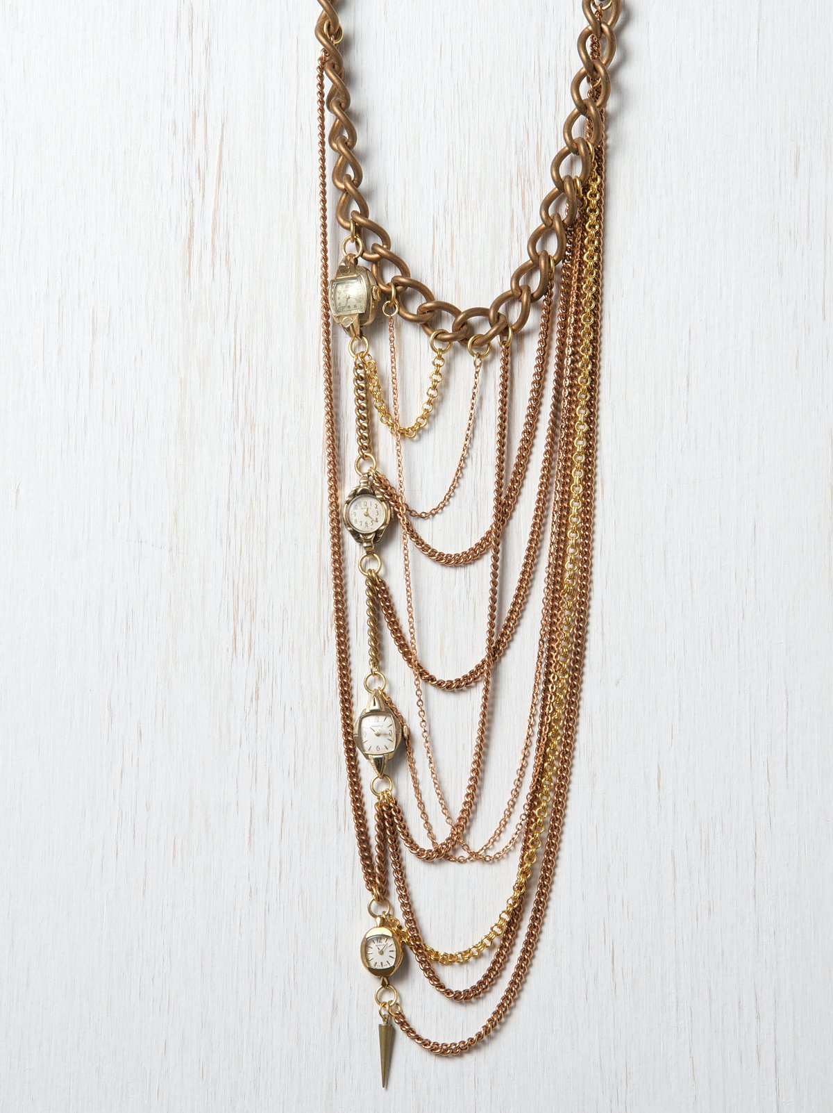 One Of A Kind Watch & Chains Layered Necklace
