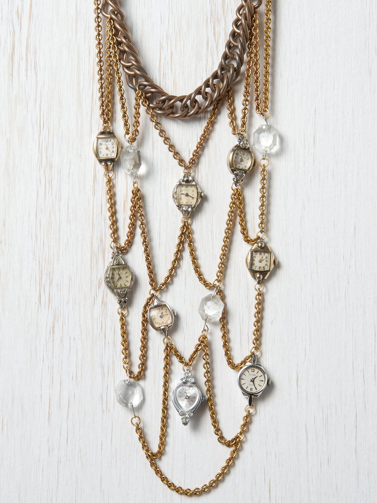 One Of A Kind Watch & Crystal Bib Necklace