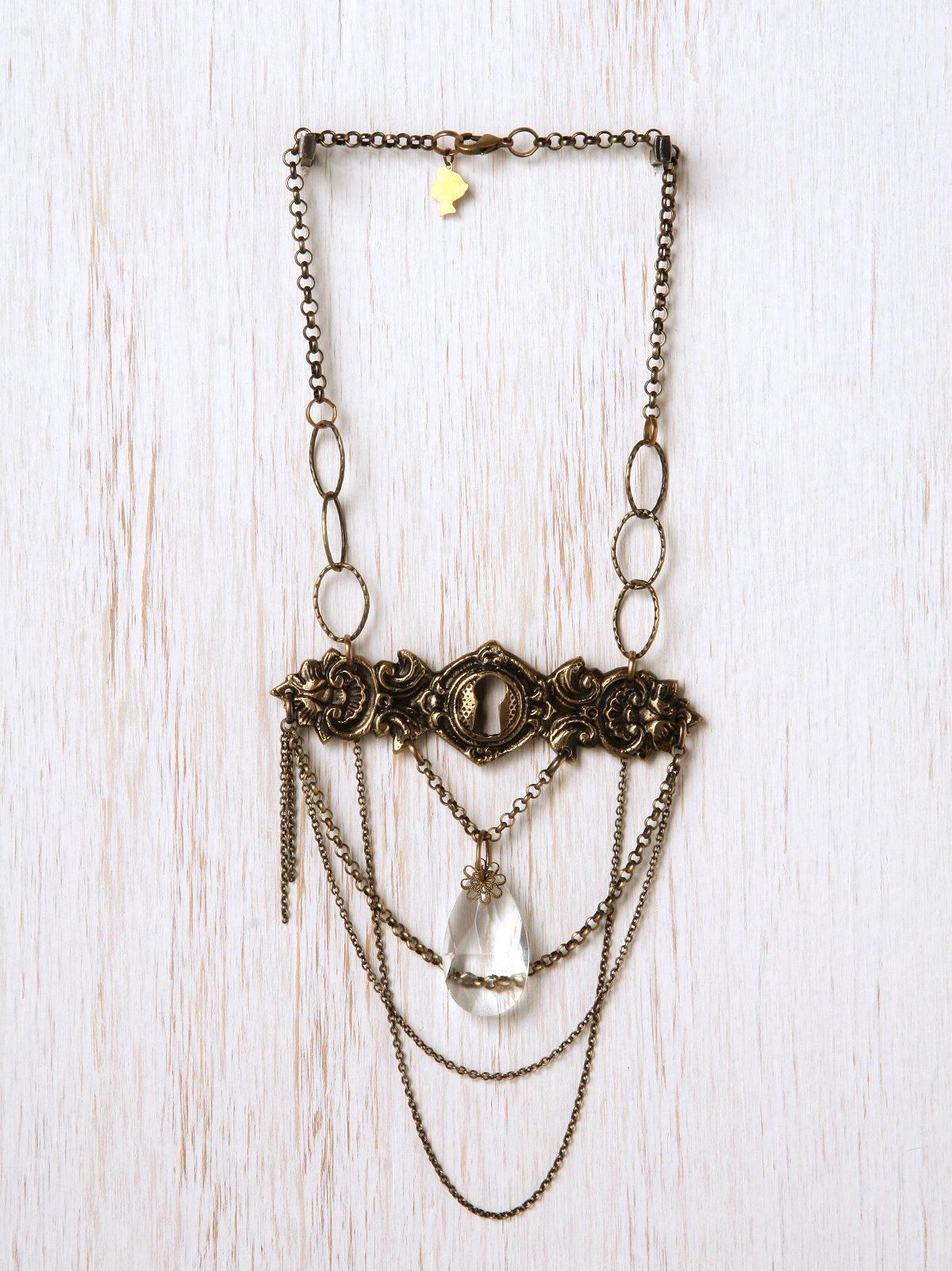 Vintage Lock & Crystal One Of A Kind Necklace