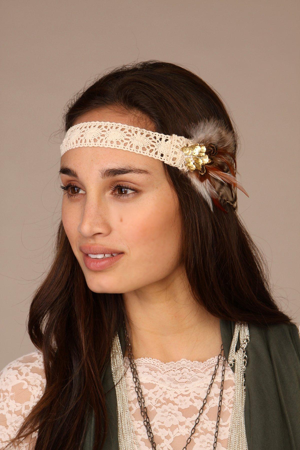 Feather and Gem Headband