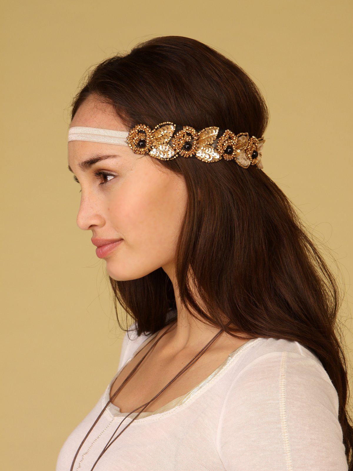 Long Flower Sequin Applique Headband