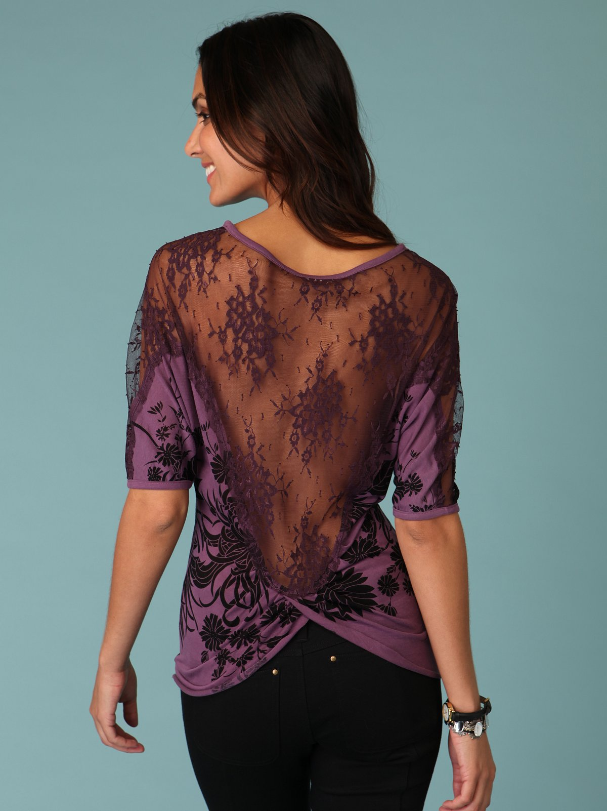 Sheer Lace Back Tunic