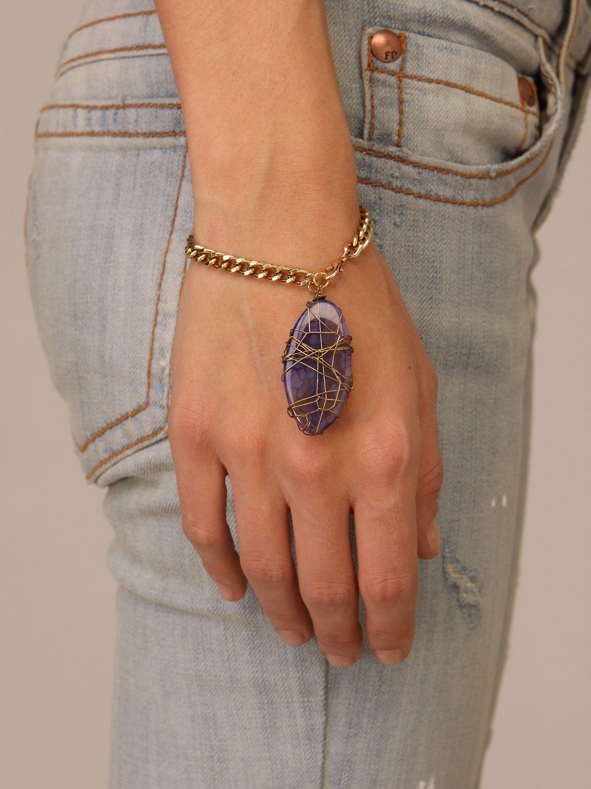 Drop Amethyst Chain Bracelet