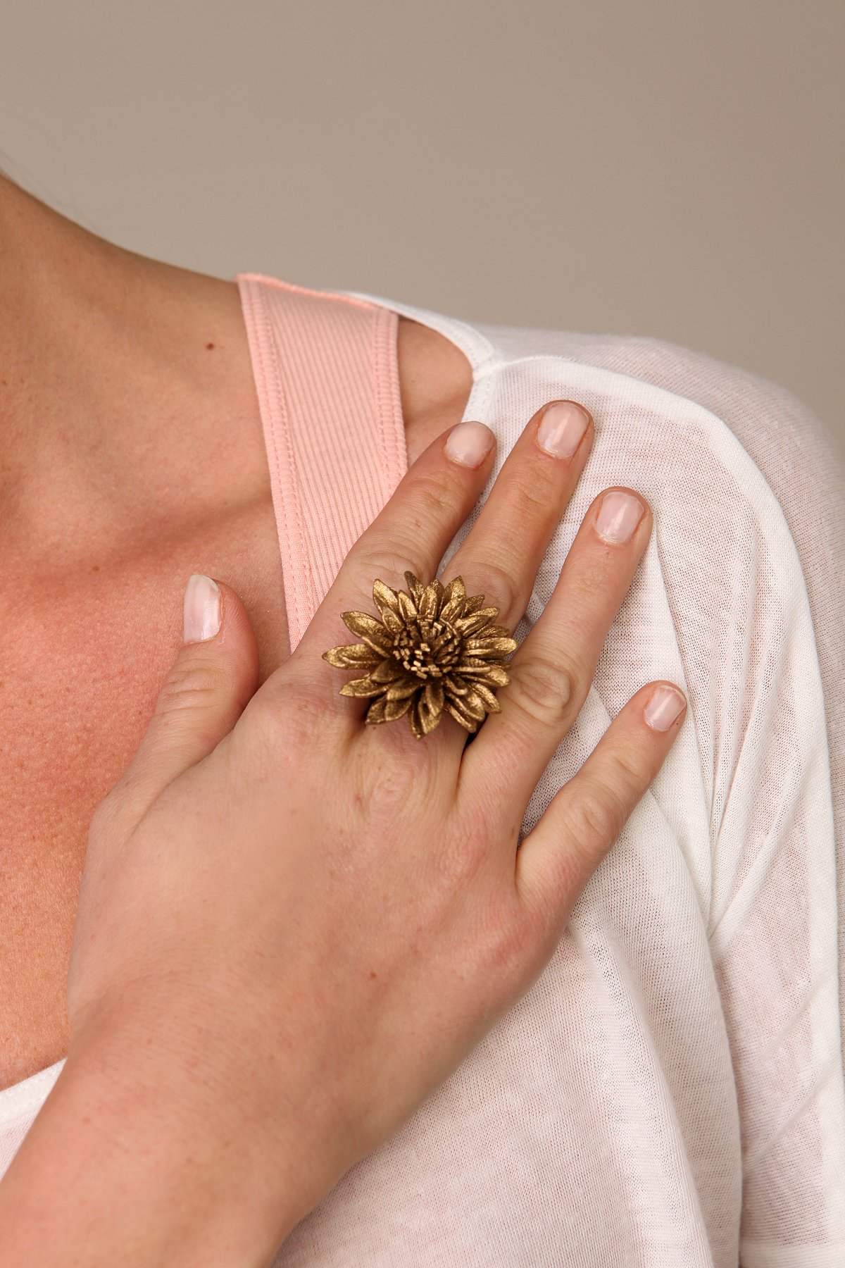 Leather Flower Rings