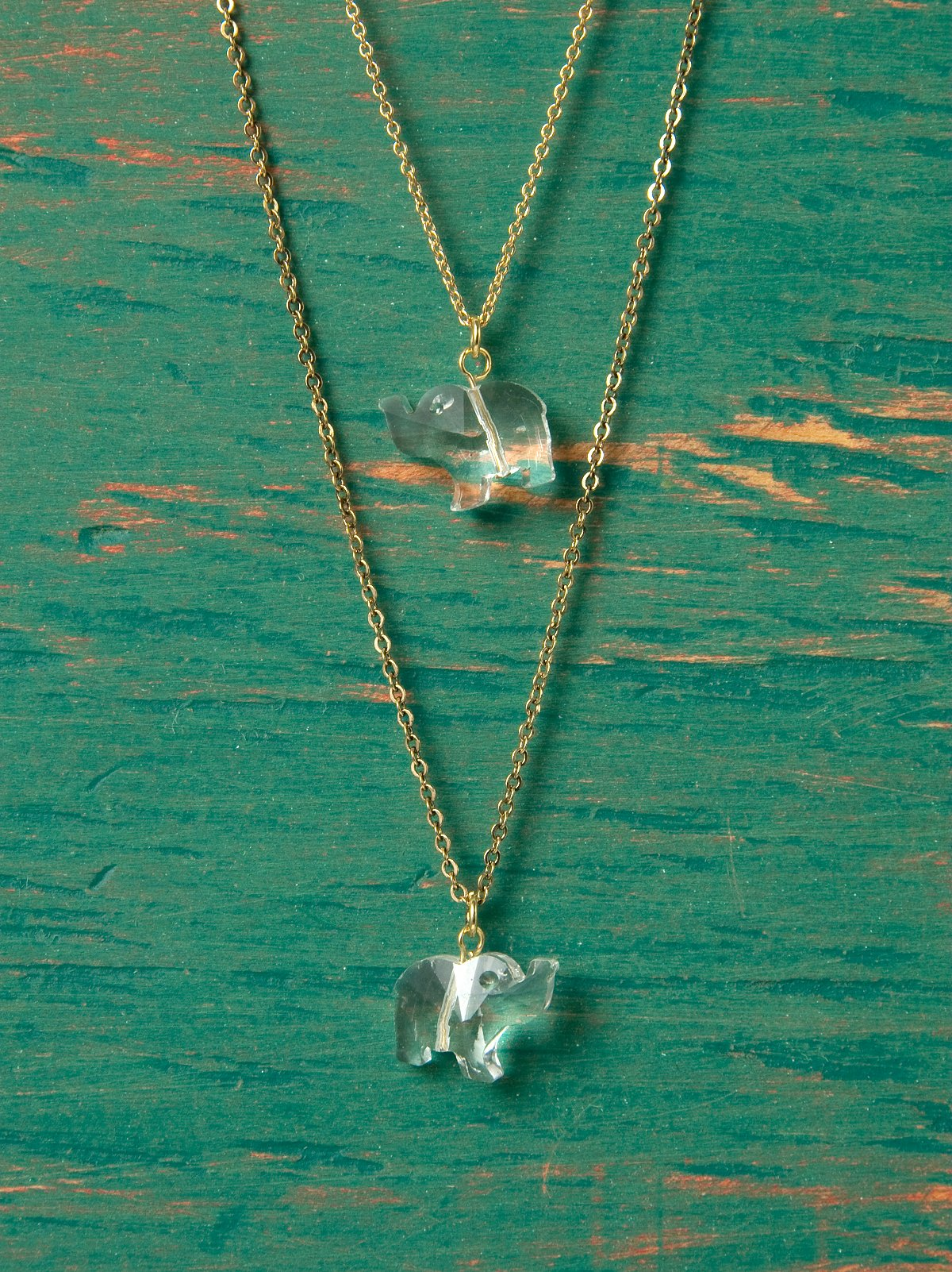 Elephant Crystal Layered Necklace