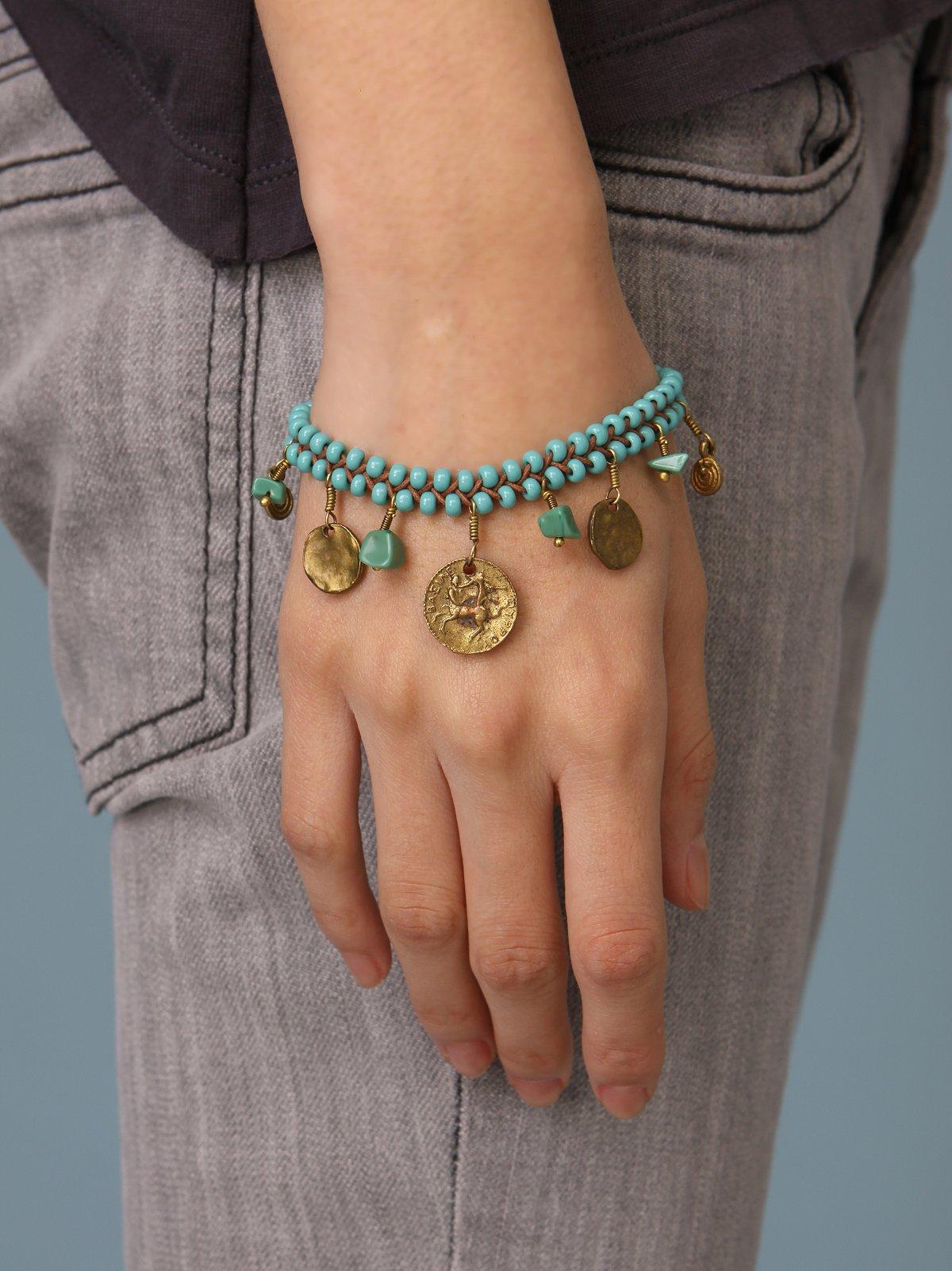 Beading Turquoise & Coin Bracelet