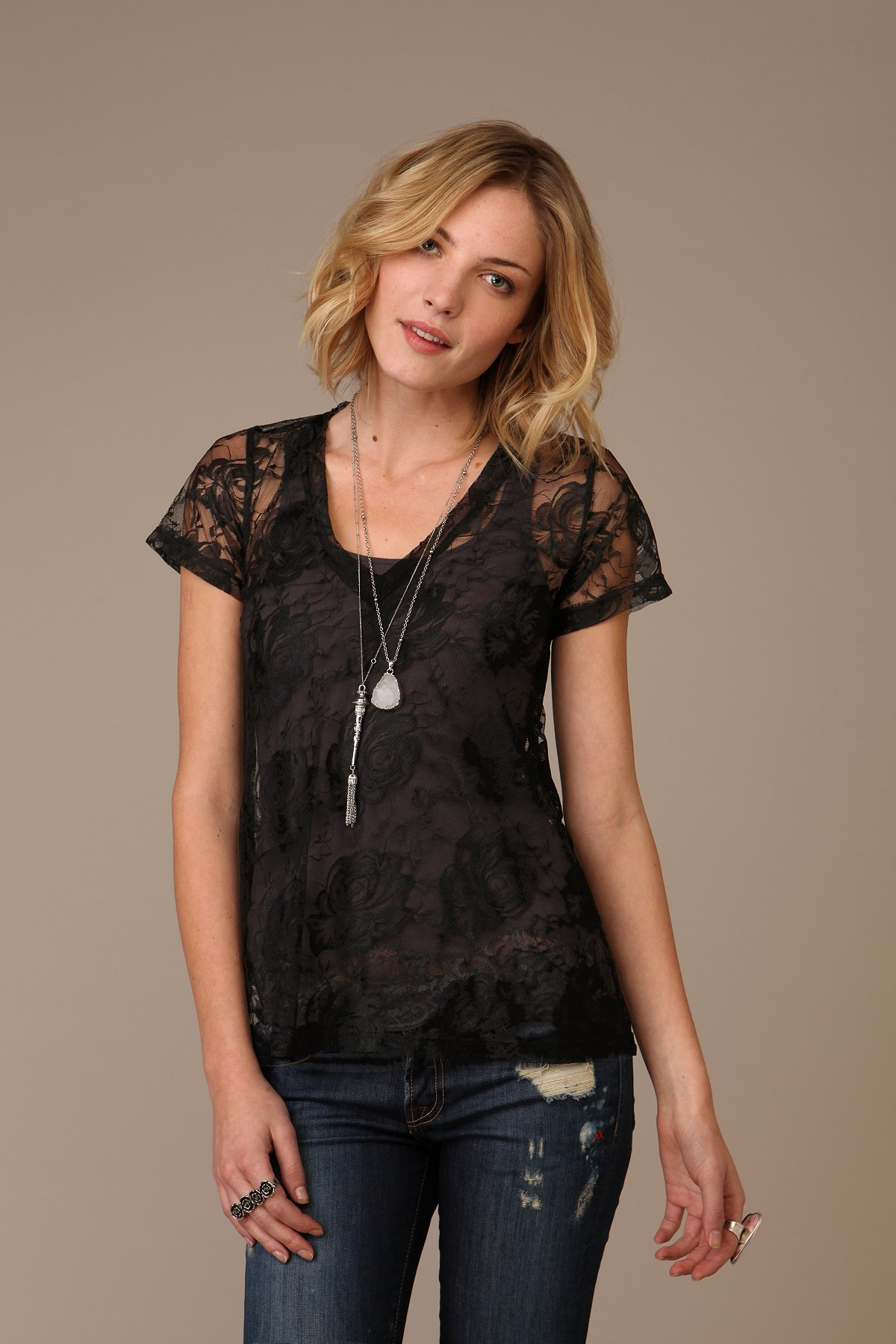 LnA Lace V-Neck Tee