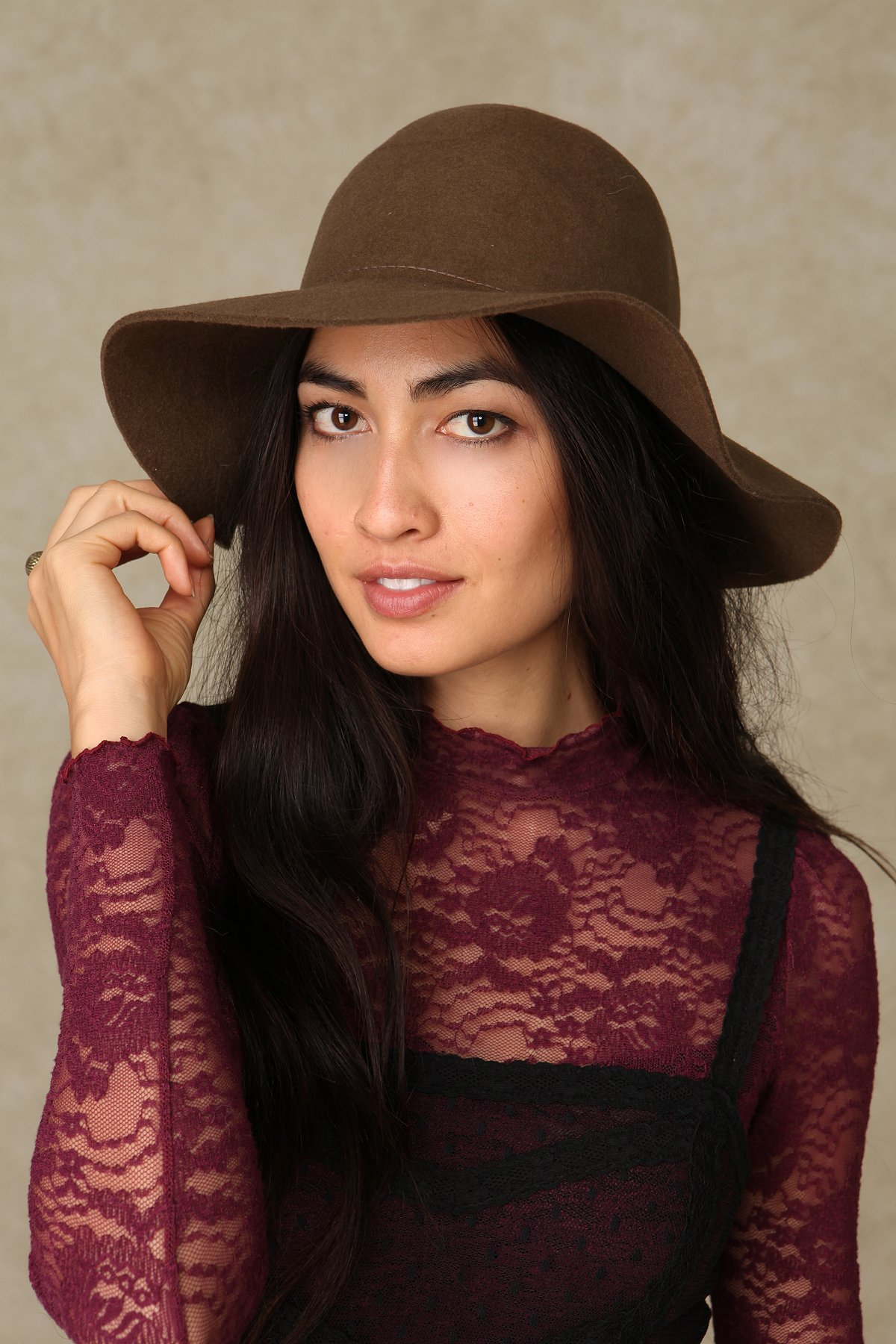 Janis Brimmed Wool Tall Hat