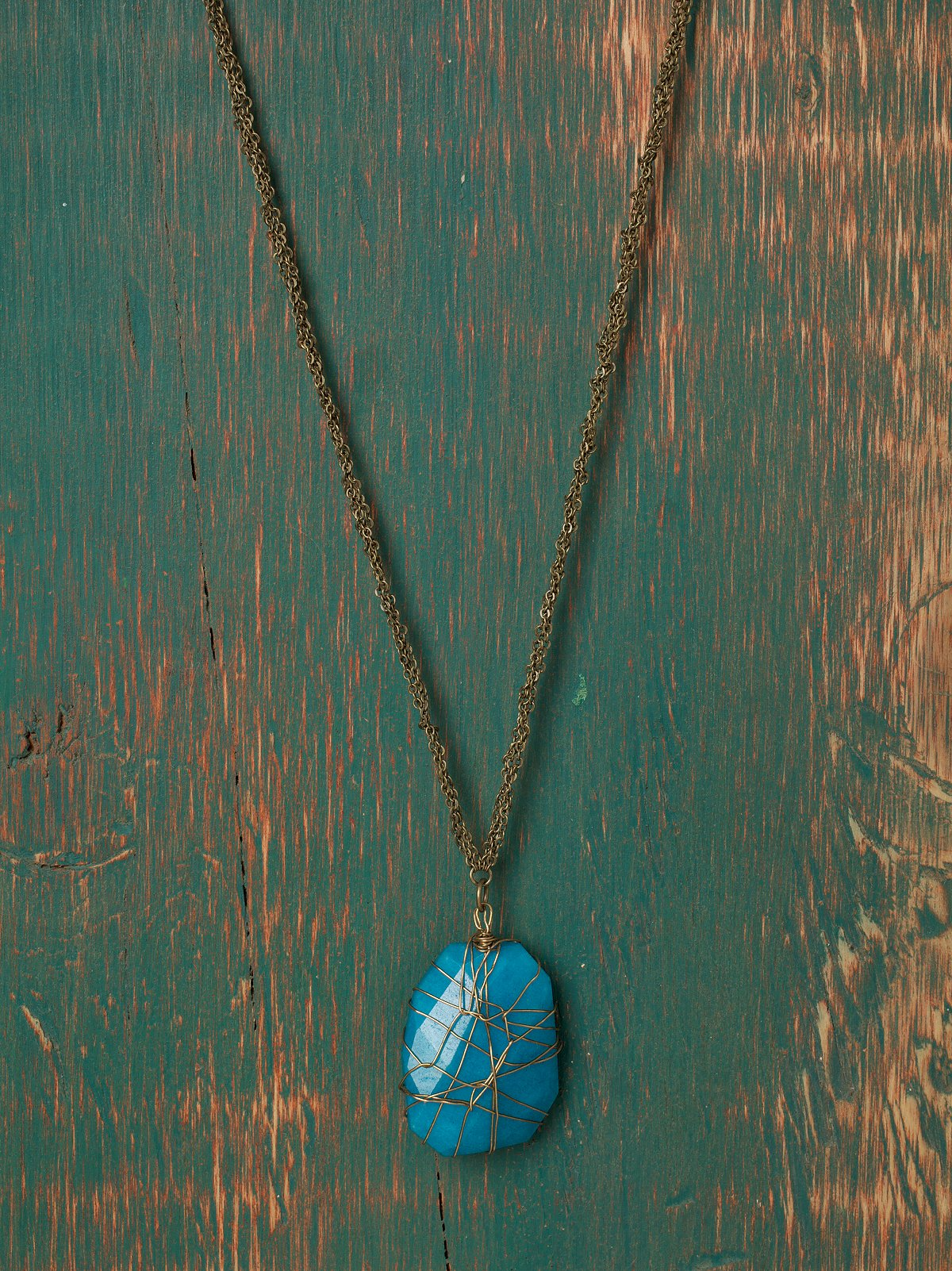 Caged Stone Pendant Necklace
