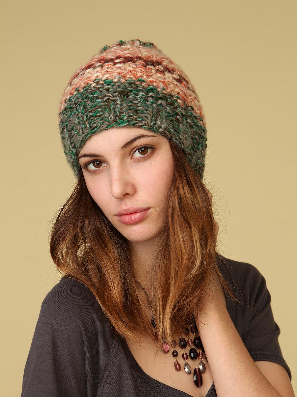 Marled Stripe Pom Pom Hat