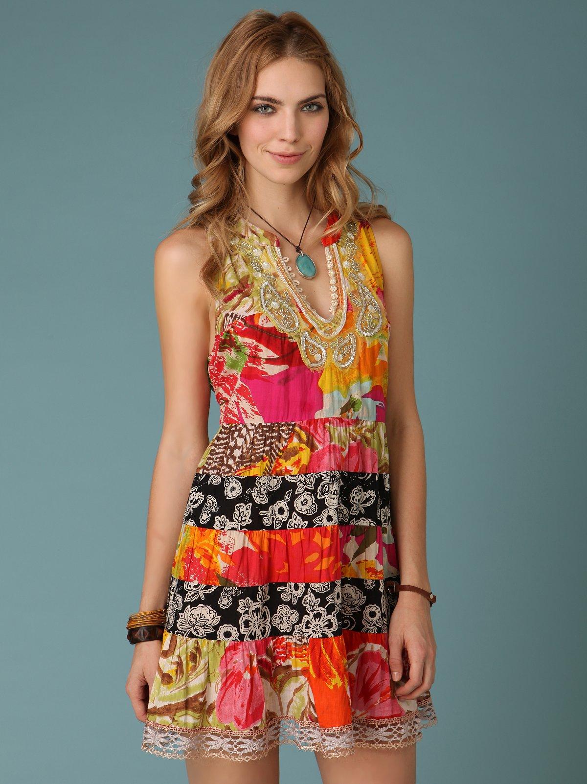 Patchwork Paisley Necklace Dress