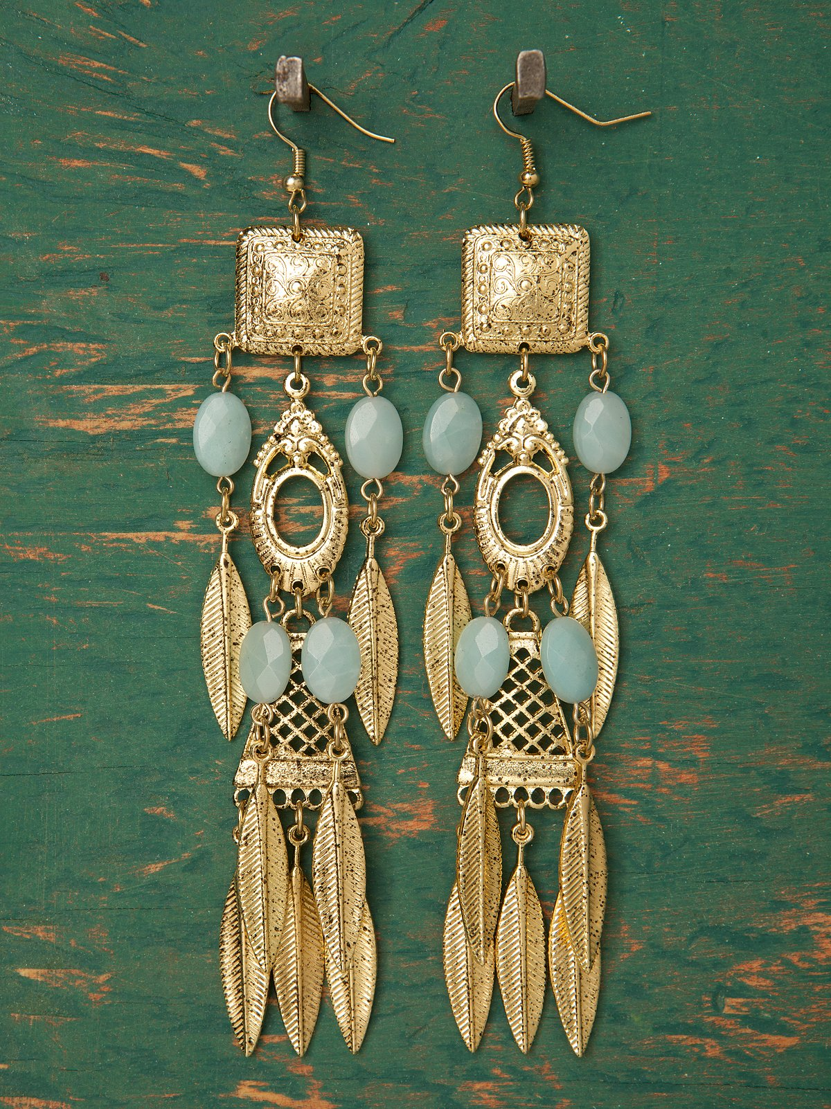Totem Long Leaf Earrings