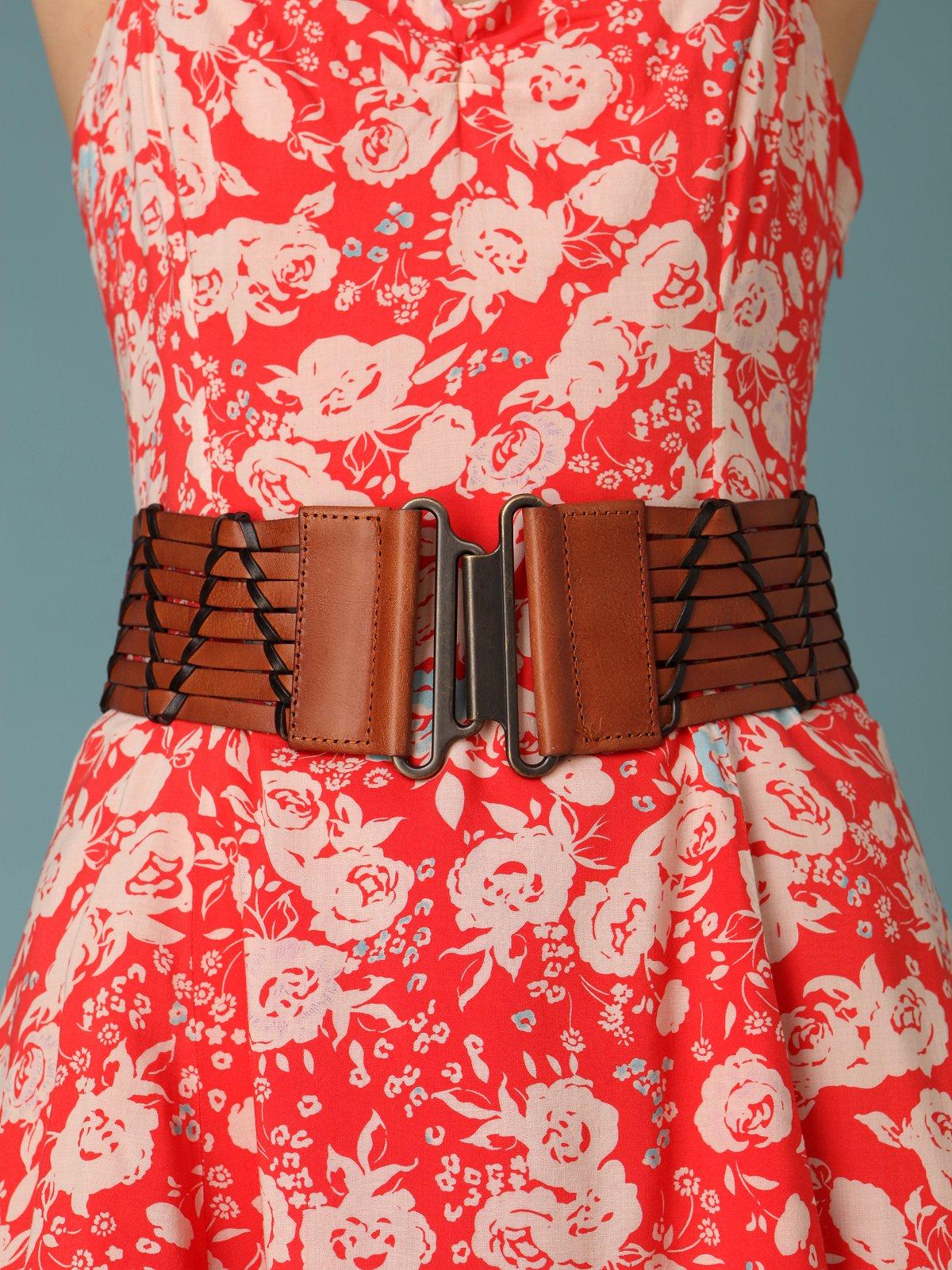 Woven Leather Stretch Waist Belt