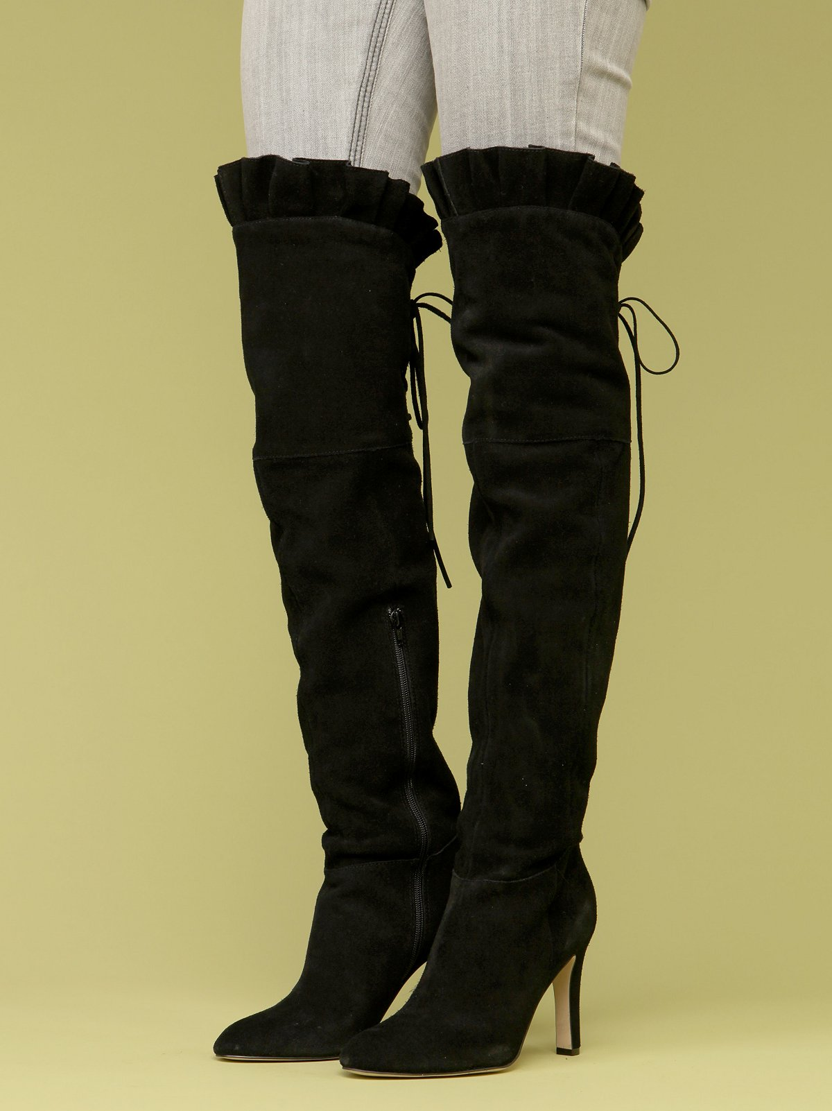 Sophia Ruffle Thigh Hi Boot