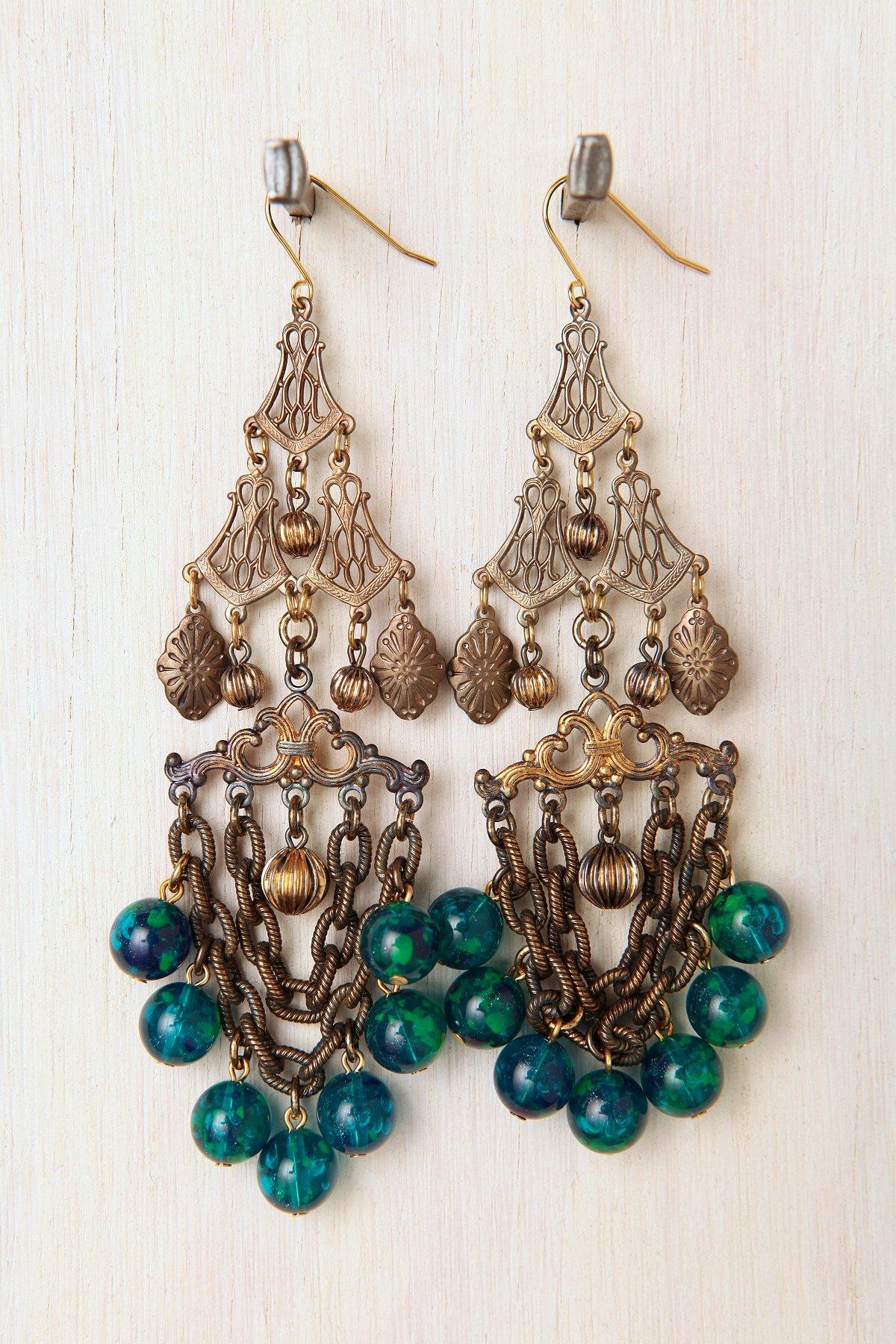 One Of A Kind Blue Chandelier Earrings