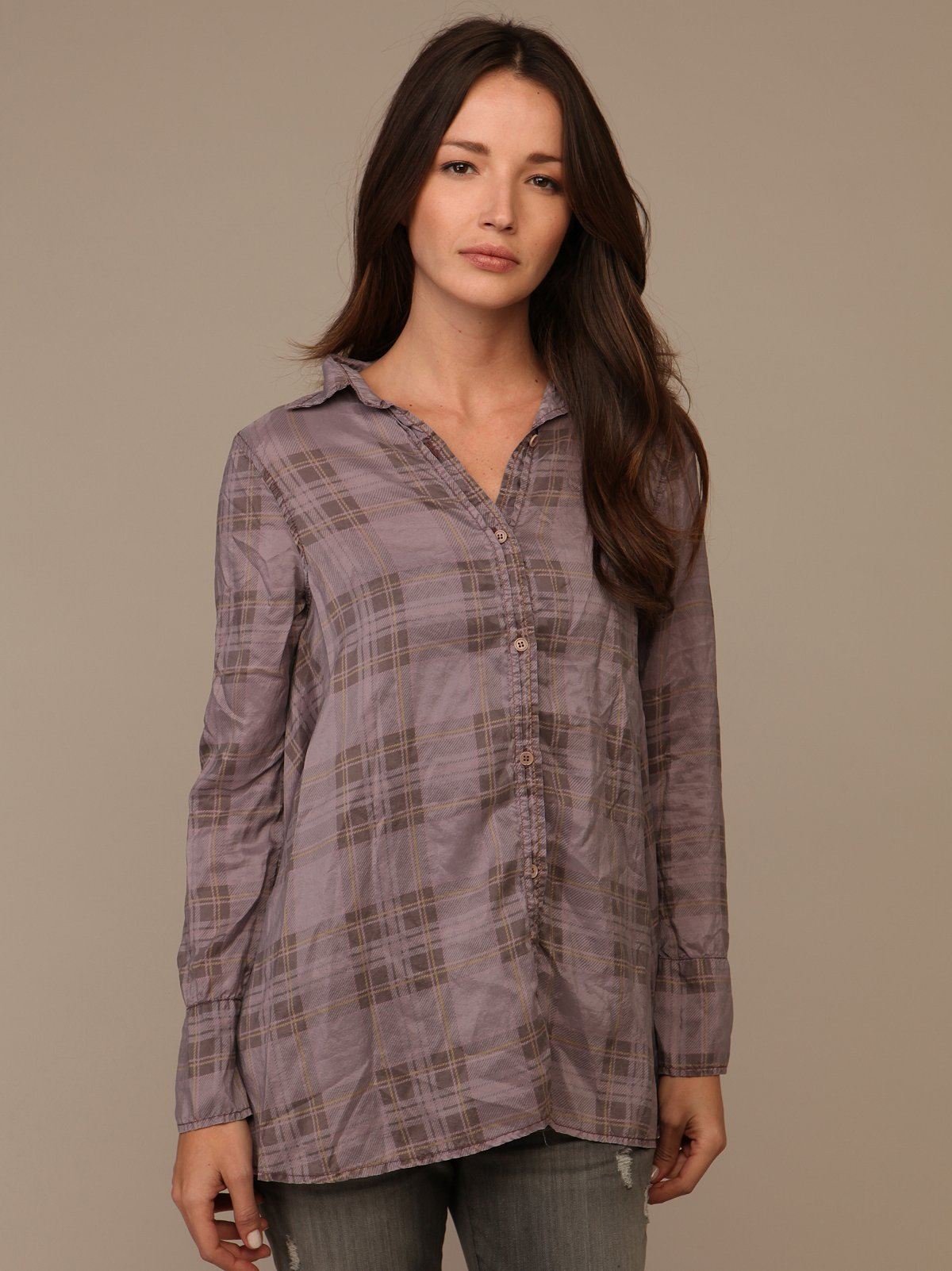 We The Free Silk Plaid Tunic