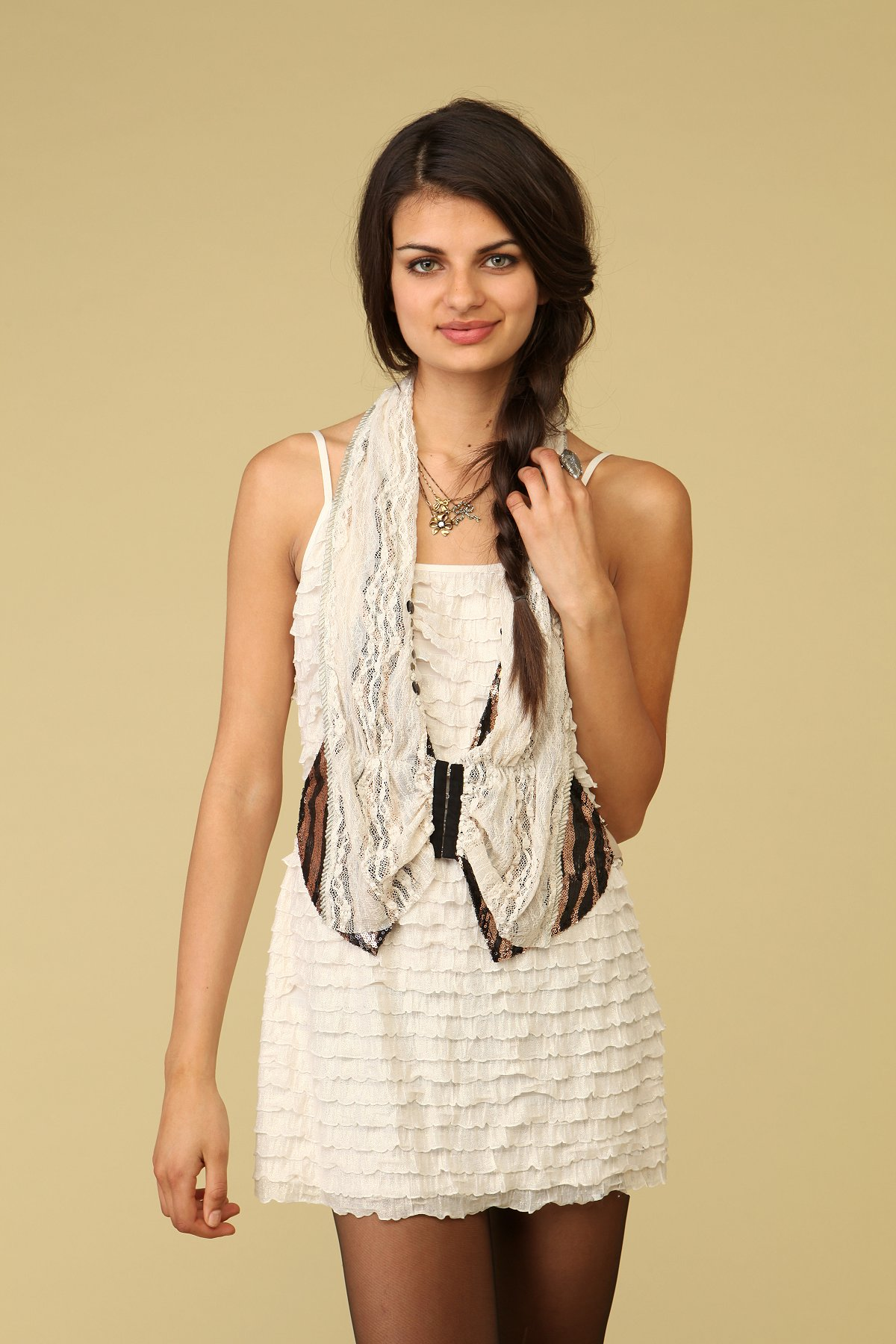 Sequin and Lace Openfront Vest