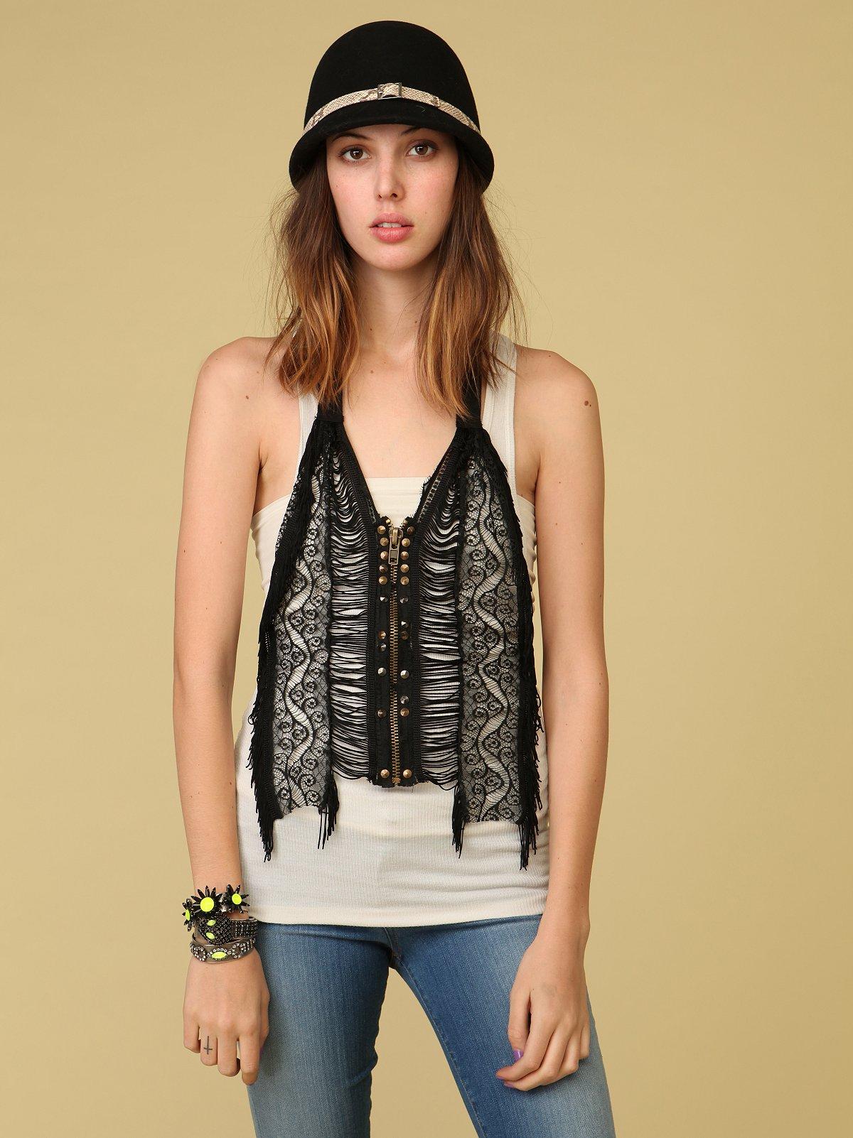 Fringe and Studs Zip Front Vest