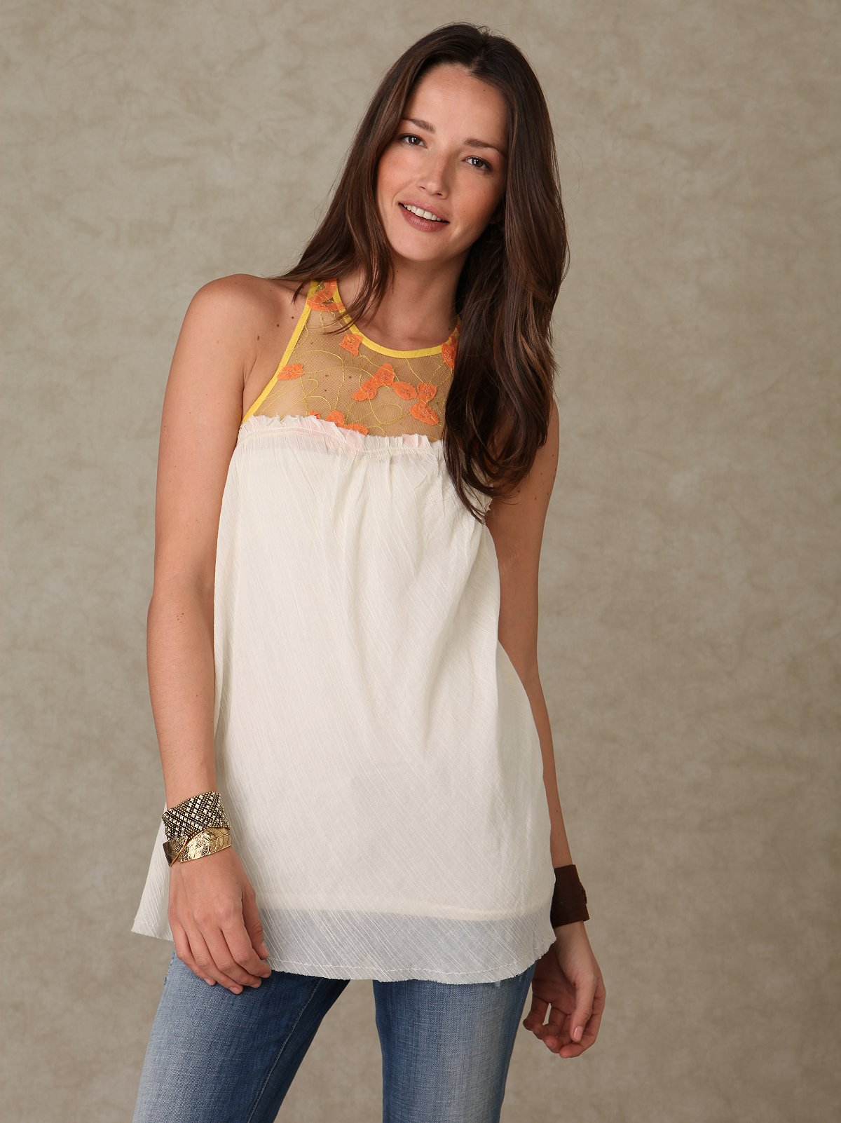 Sleeveless Embellished Gauze Tunic