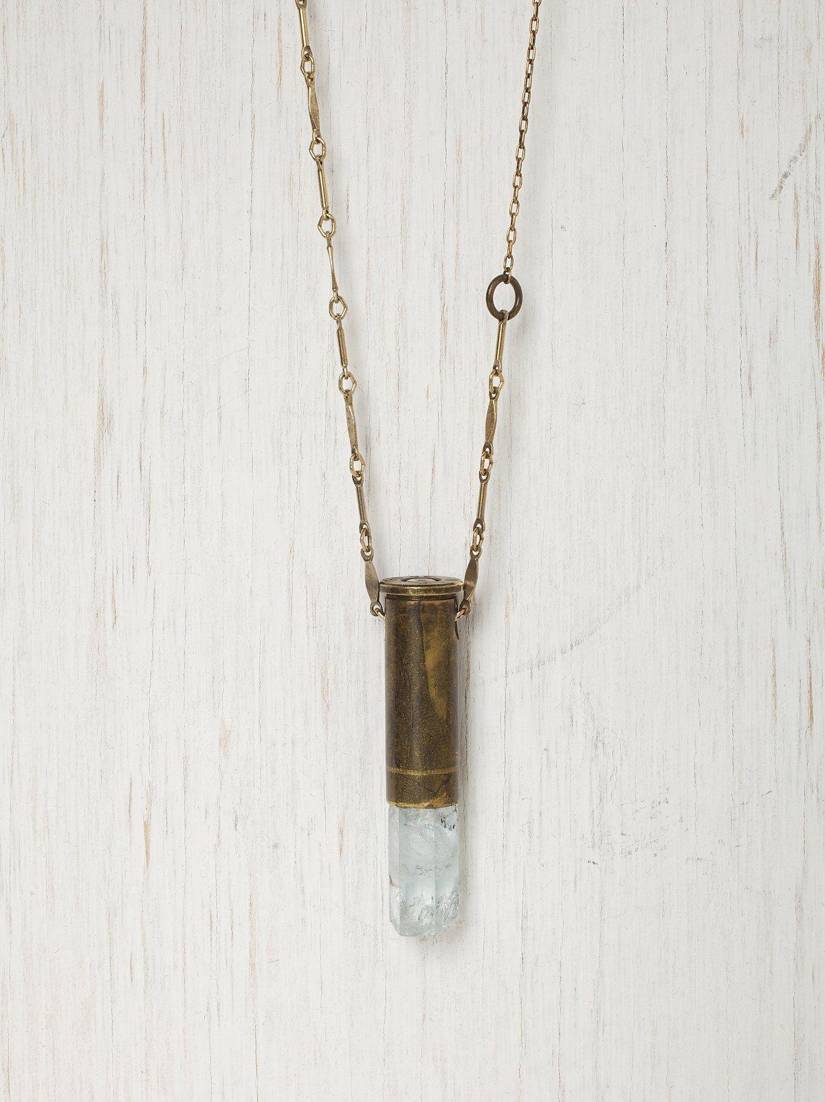 Aquamarine Bullet Shell Necklace