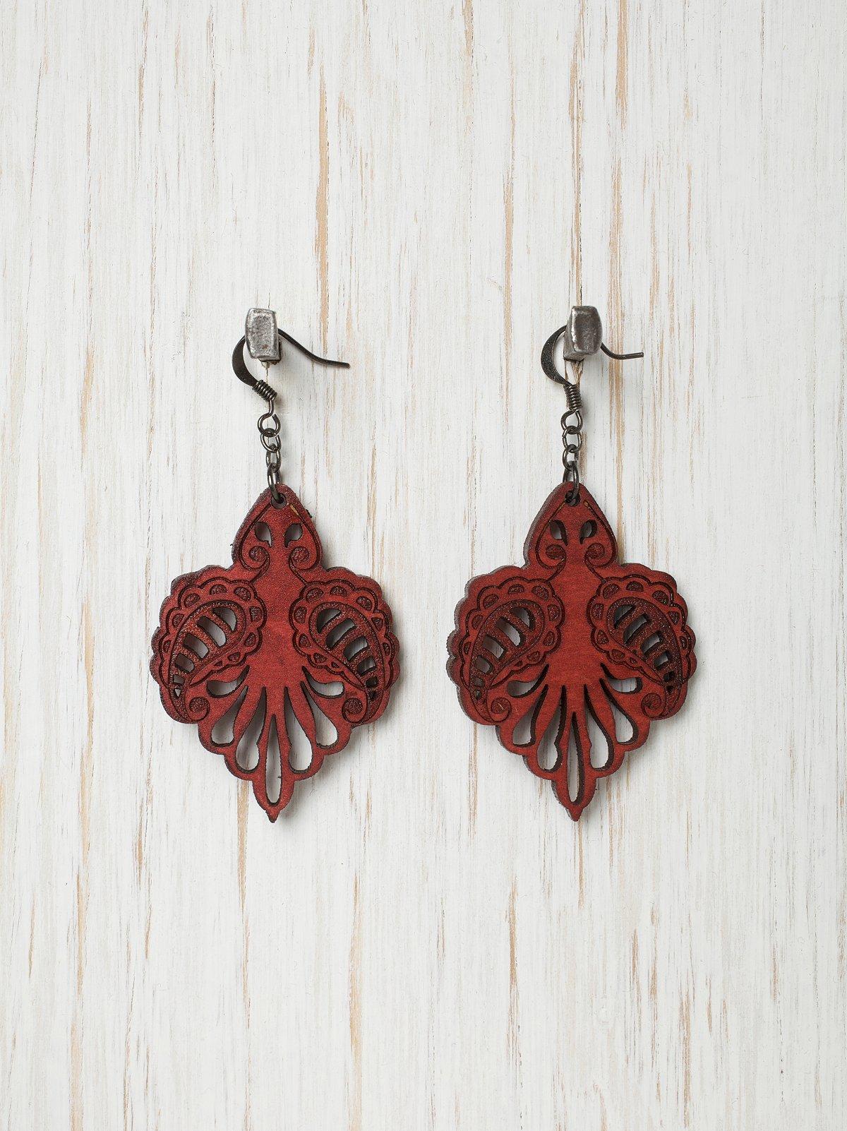 Red Cut Wood Earrings