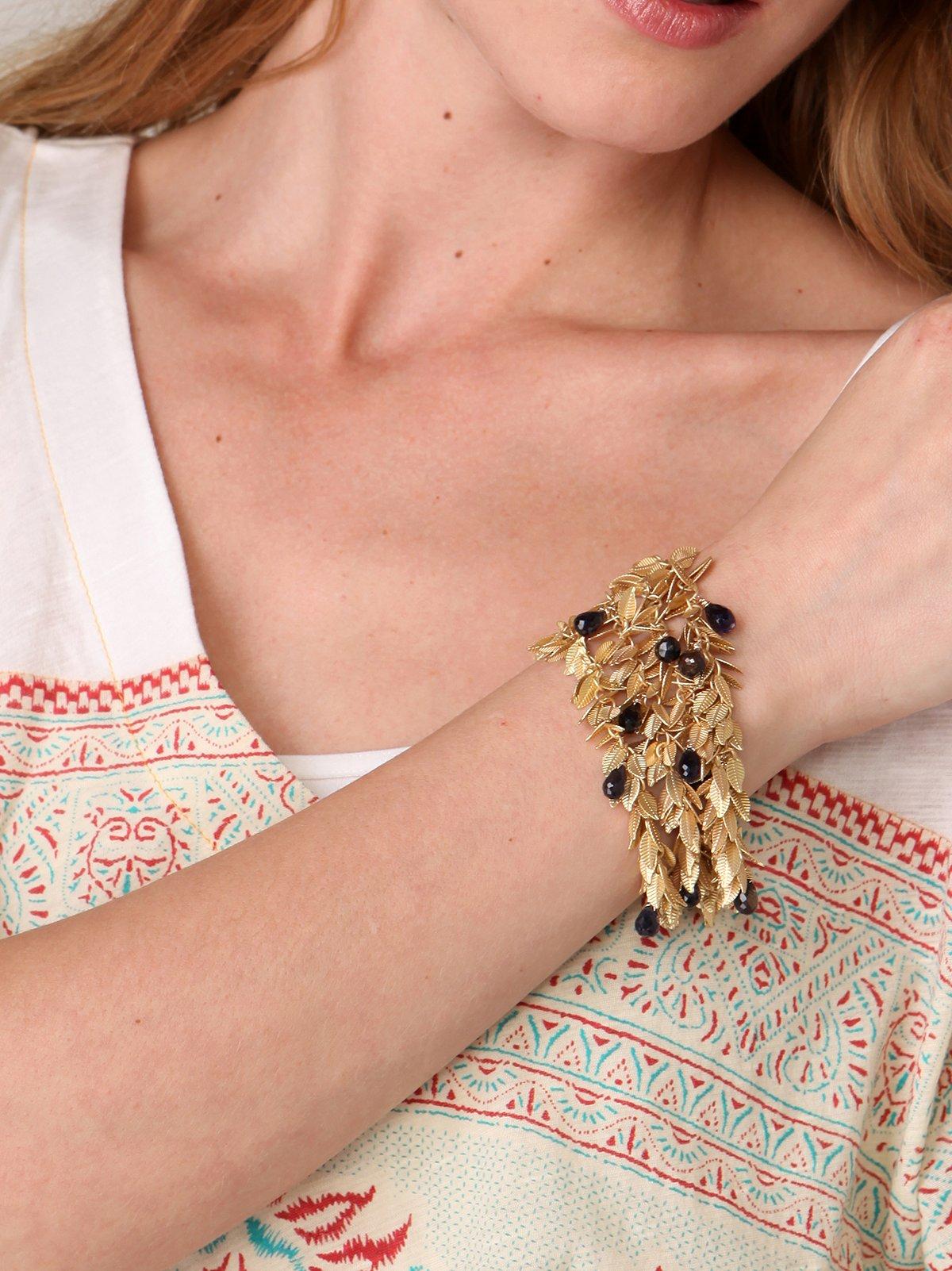 Leaf & Lolite Stone Shake Bracelet