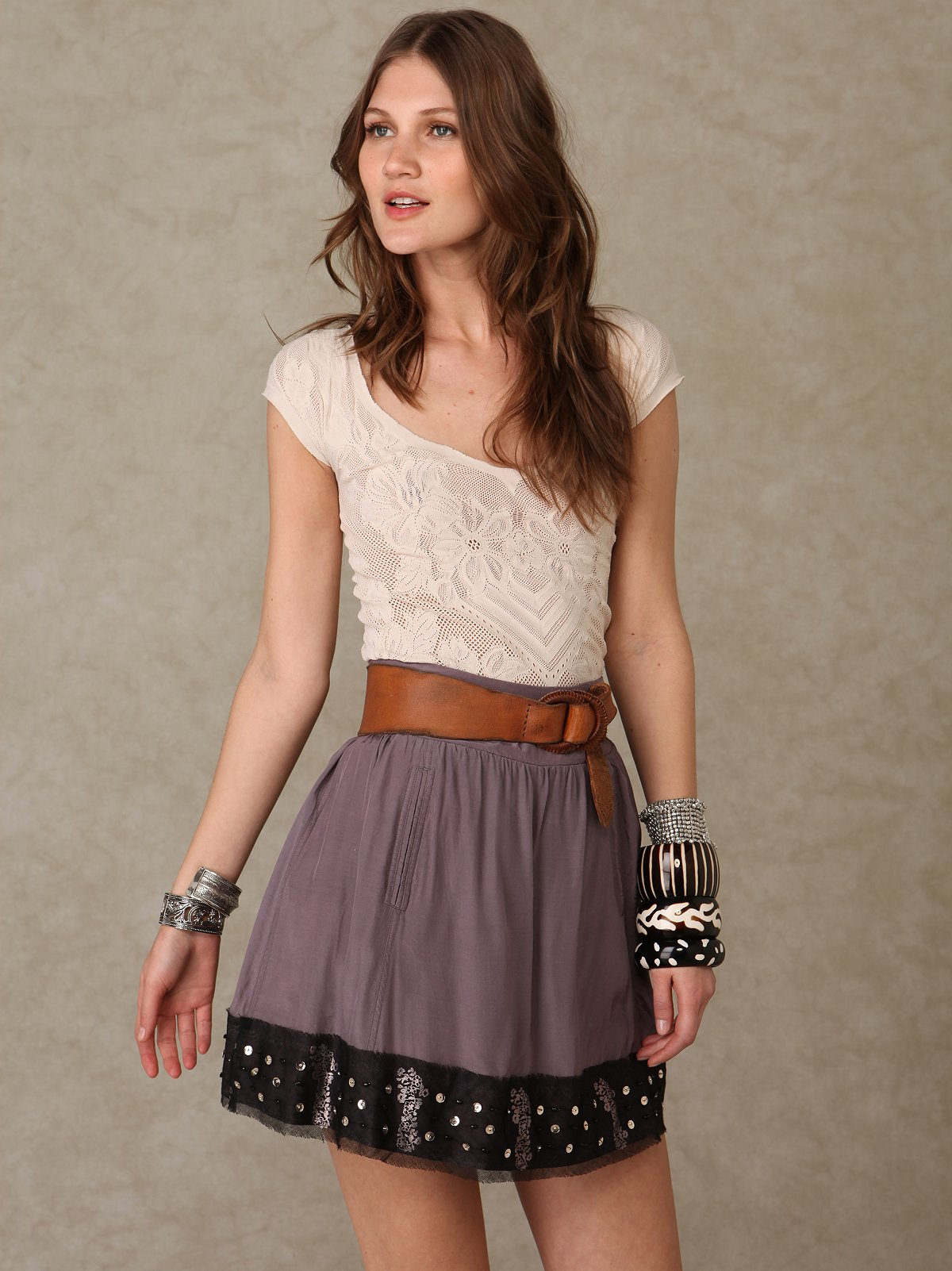 Sequin Hem Skirt