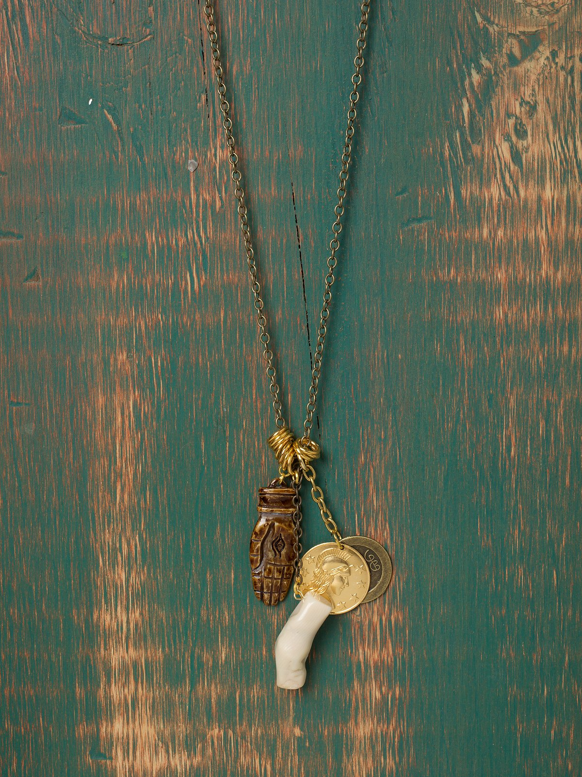 Wood Hand & Coin Charm Necklace