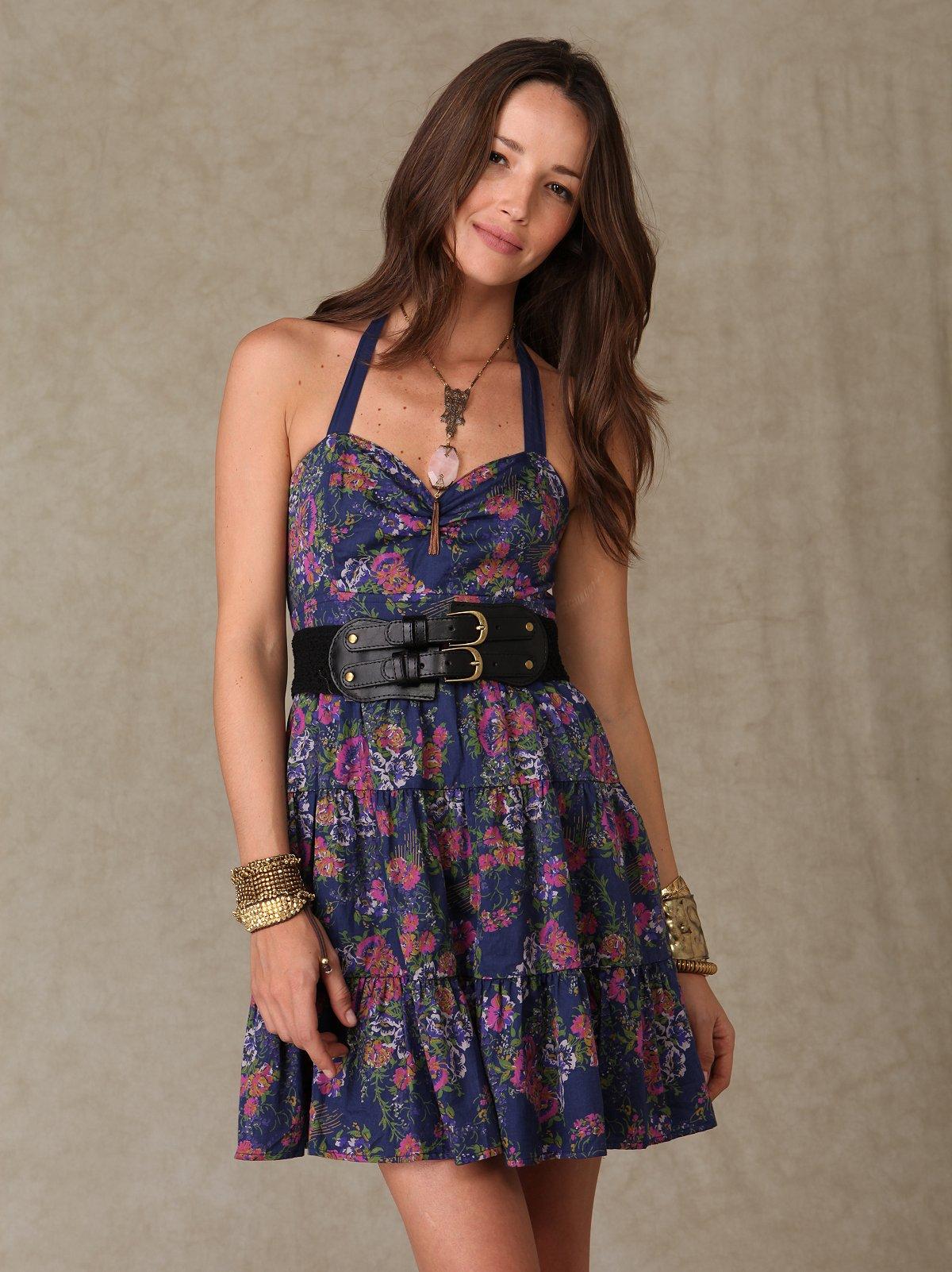 Floral Tiered Halter Dress