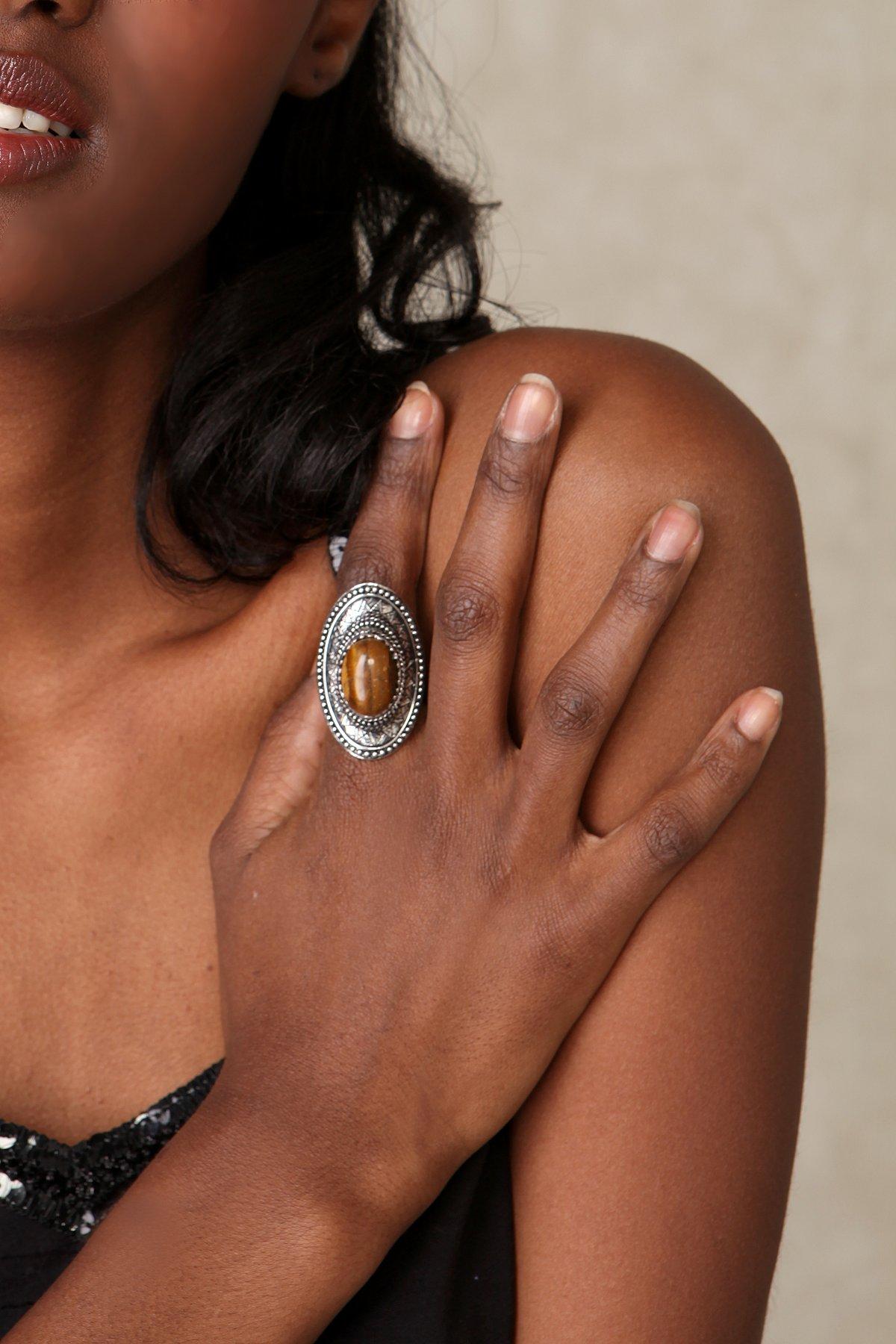 Eye of Tiger Stone Ring