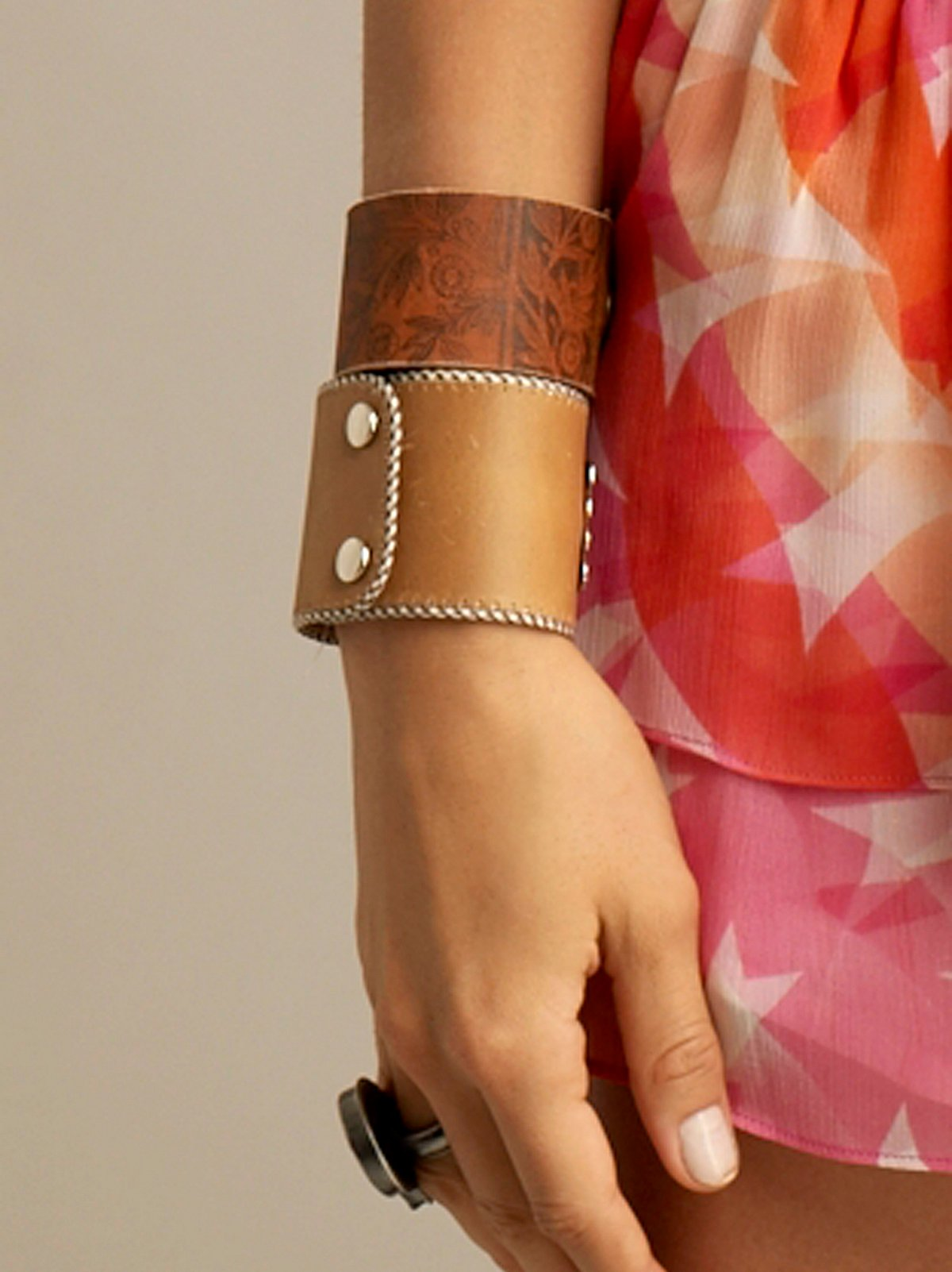 Printed Leather Cuff