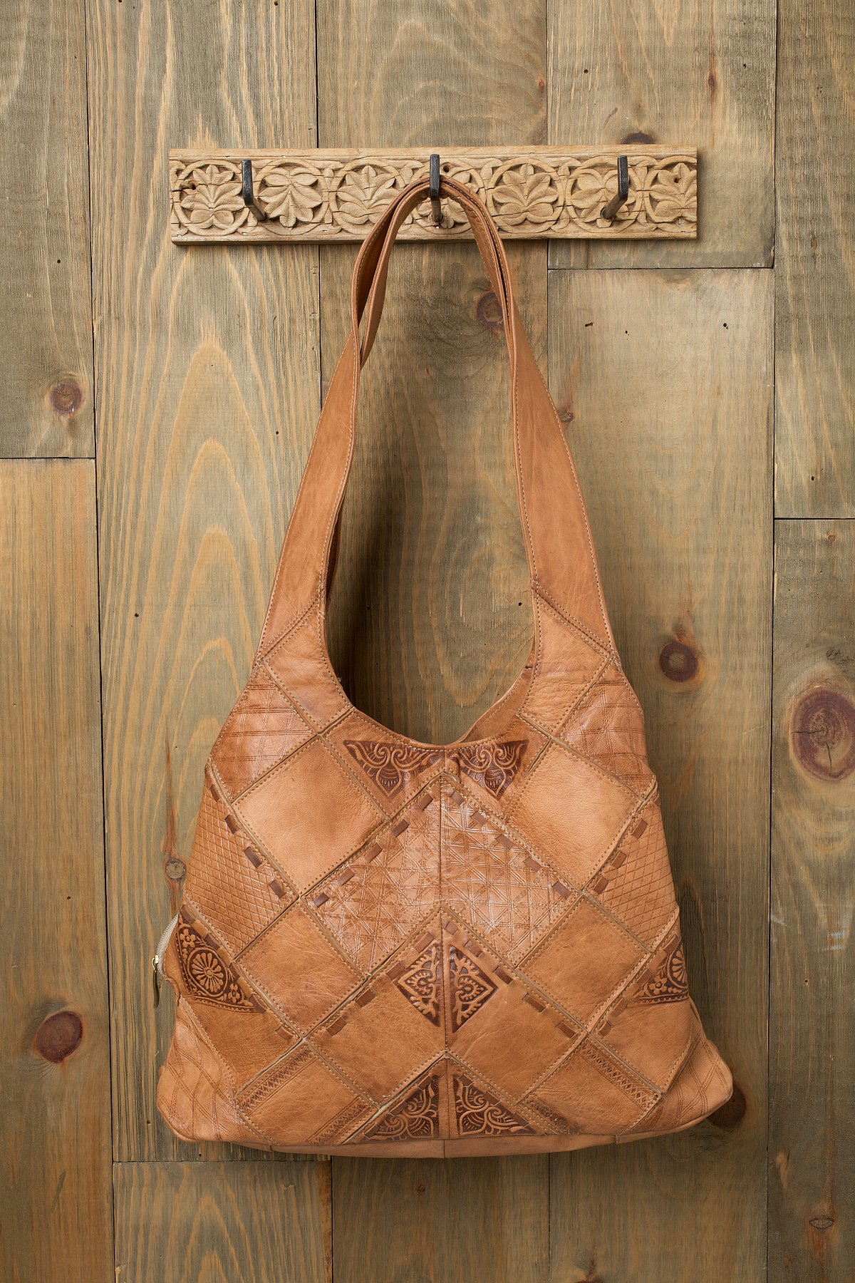 Embossed Patched Tote