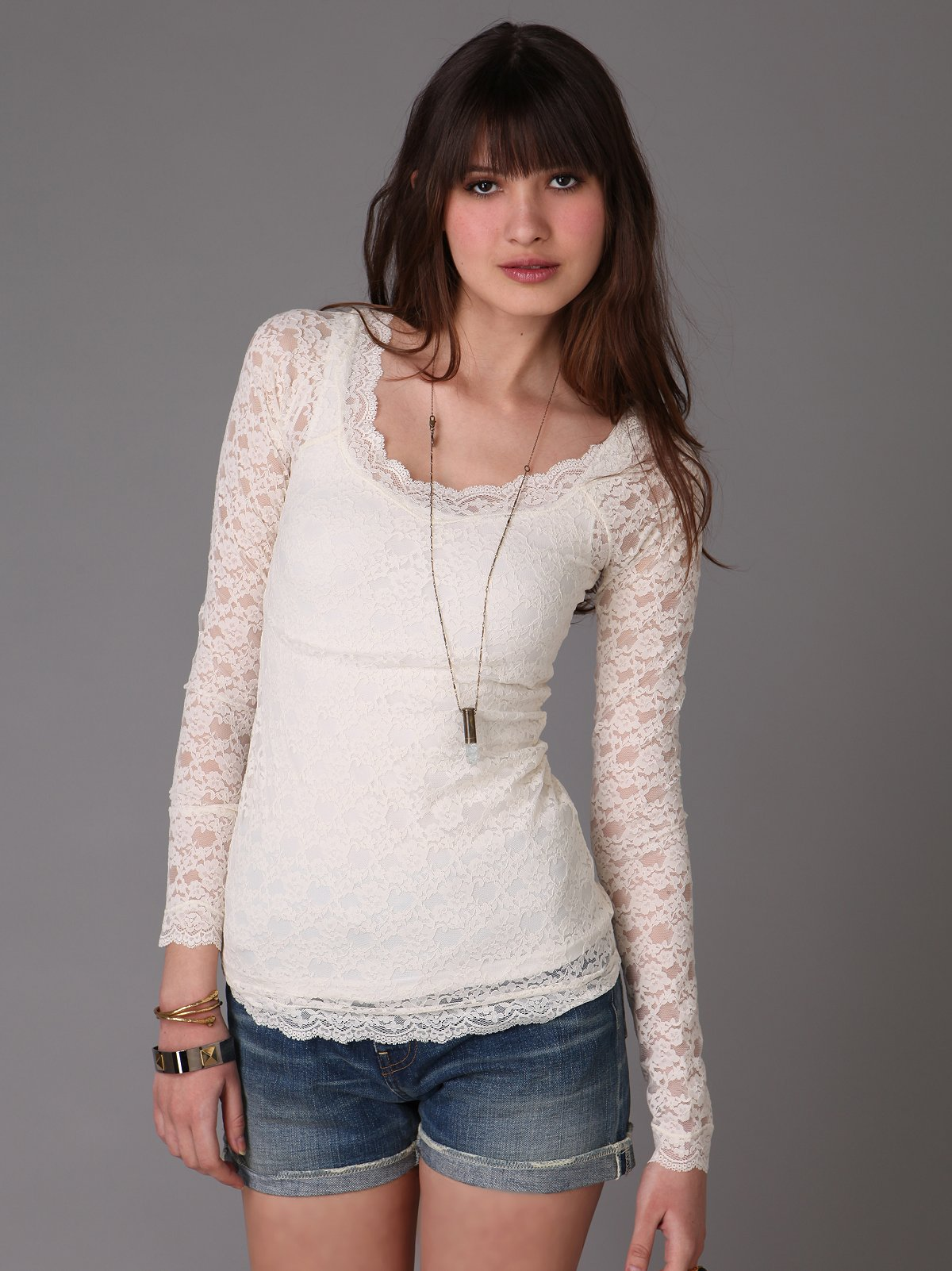Lace Scoop Top