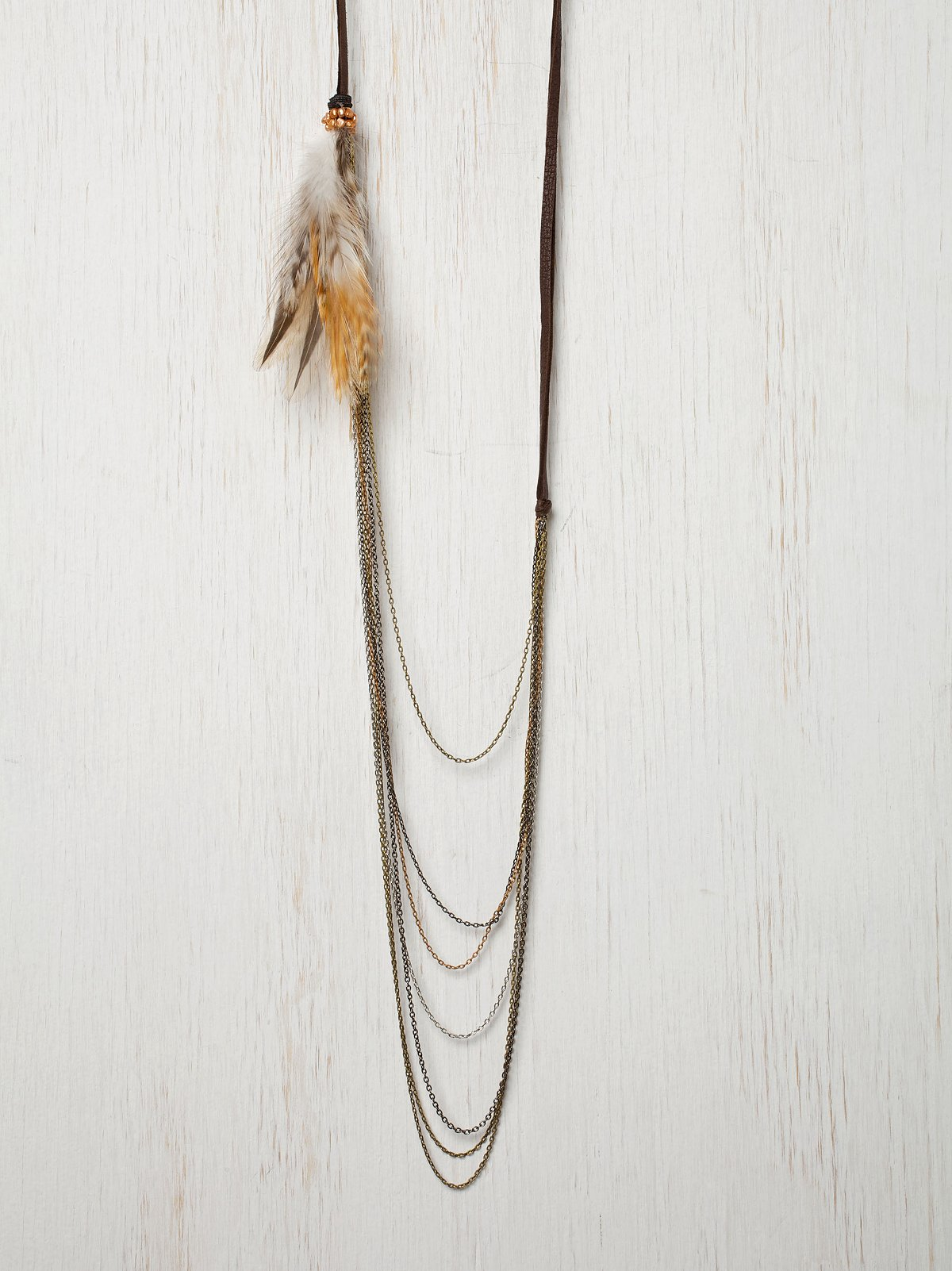 Suede & Feather Chain Necklace