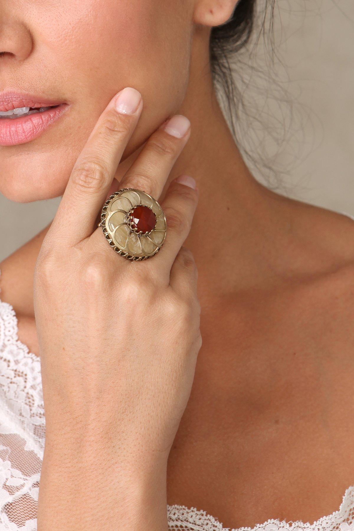 Agate Rosette Ring