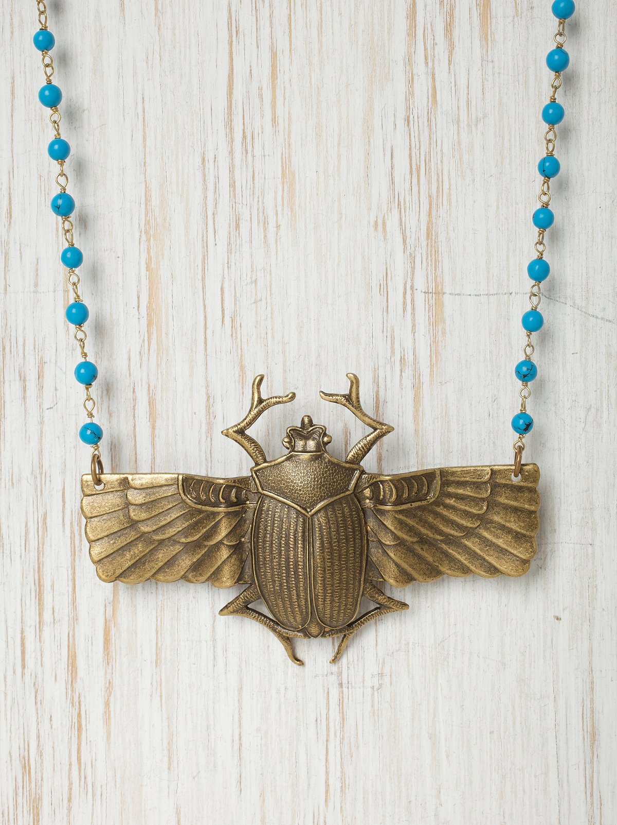 Brass Scarab Necklace