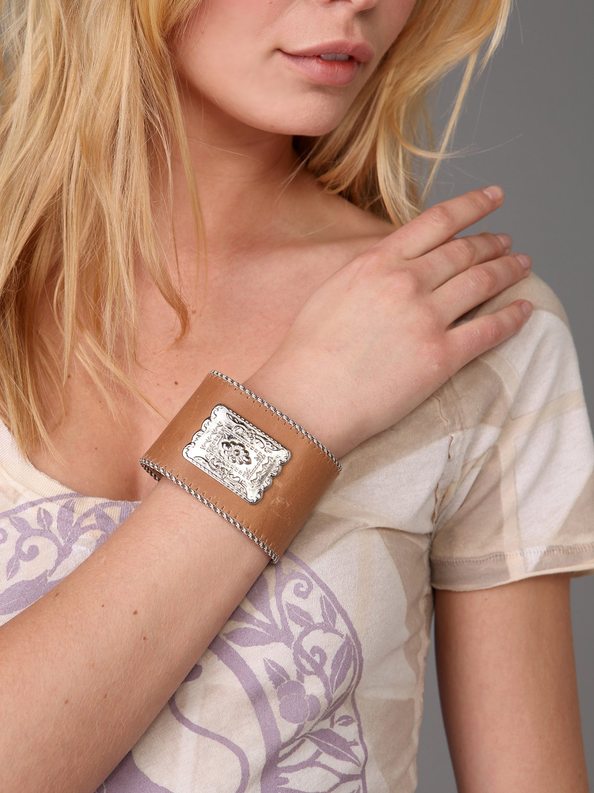 Leather & Silver Adorned Cuff