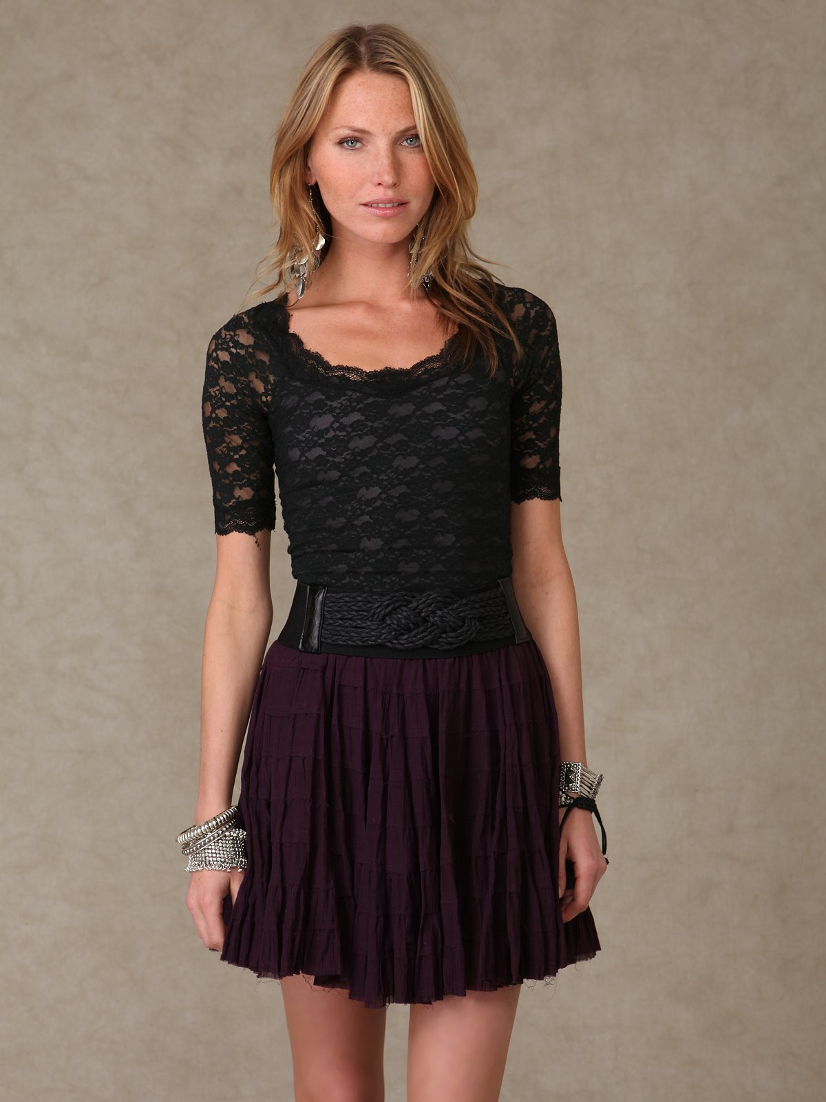 Solid Flounce Skirt